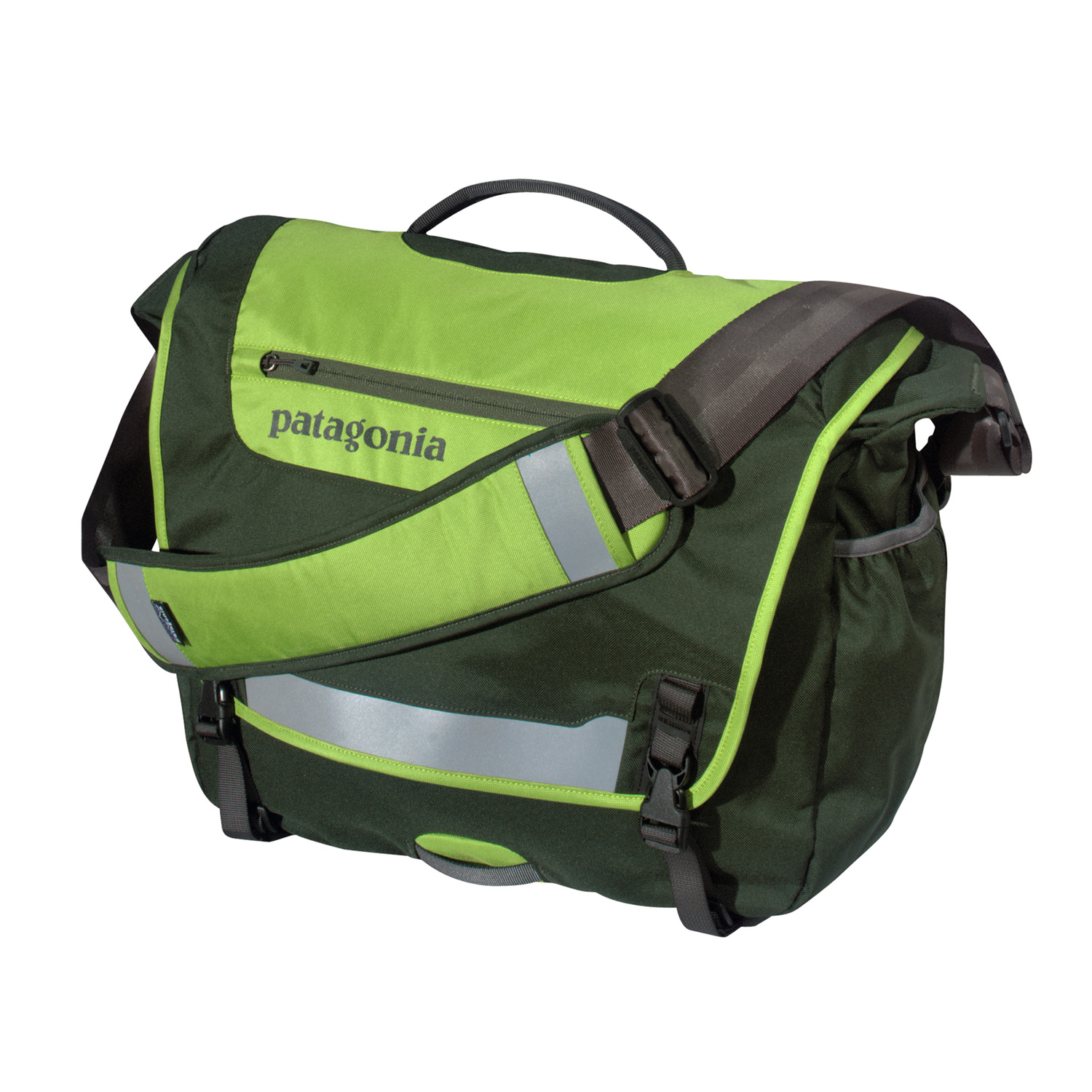 MTB Patagonia's best-selling courier bag made of recycled polyesterKey Features of the Patagonia Half Mass Bag: Main flap opens to largest compartment, which houses one drop pocket, one mesh pocket, one padded electronics pocket, three slots for pens and a discrete and secure zippered pocket; zippered pocket on flap has moisture-shedding reverse coil zipper Padded computer sleeve is raised off the ground and will accommodate up to a 17? laptop. The sleeve secures with a buckle and strap Front flap features improved reflective piping and webbing bike-light mount for visibility at night Side mounted exterior water bottle pocket Interior drop pocket secures with hook and loop tab for quick access to boarding passes, magazines or newspapers Fully adjustable shoulder strap with floating pad, three point adjustable stability strap and top side carrying handle 22 L / 1343 cu in (1 lb 13.4 oz) 833 g Fabric: Body: 8.4-oz 600-denier 100% recycled polyester. Lining: 3.3-oz 200-denier polyester. Both with a polyurethane coating - $62.95