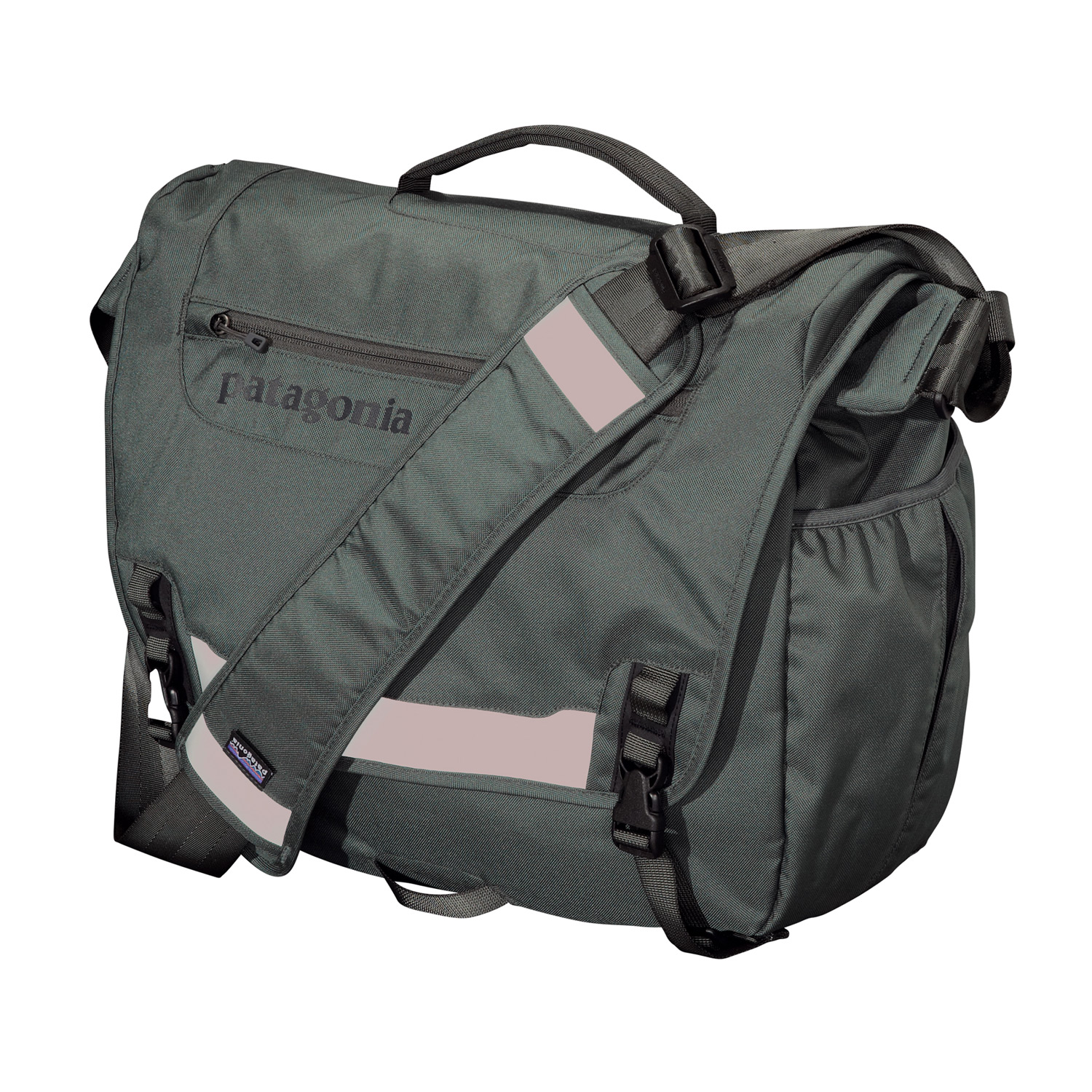 MTB Patagonia's best-selling courier bag, which is made with recycled polyester; laptop compatible. FABRIC: Body: 8.4-oz 600-denier 100% recycled polyester. Lining: 3.3-oz 200-denier polyester. Both with a polyurethane coatingKey Features of the Patagonia Half Mass Bag: Main flap opens to largest compartment, which houses one drop pocket, one zippered mesh pocket, one padded electronics pocket and three slots for pens; zippered pocket on flap has moisture-shedding reverse coil zipper Padded computer sleeve raised off the ground accommodates up to a 17? laptop; secures with a buckle and strap Front flap features improved reflective panel and a webbing bike-light mount Side-mounted exterior water bottle pocket Interior drop pocket secures with hook-and-loop tab for quick access to boarding passes, magazines or newspapers Fully adjustable shoulder strap with floating pad, three-point adjustable stability strap and top-side carrying handle - $61.95