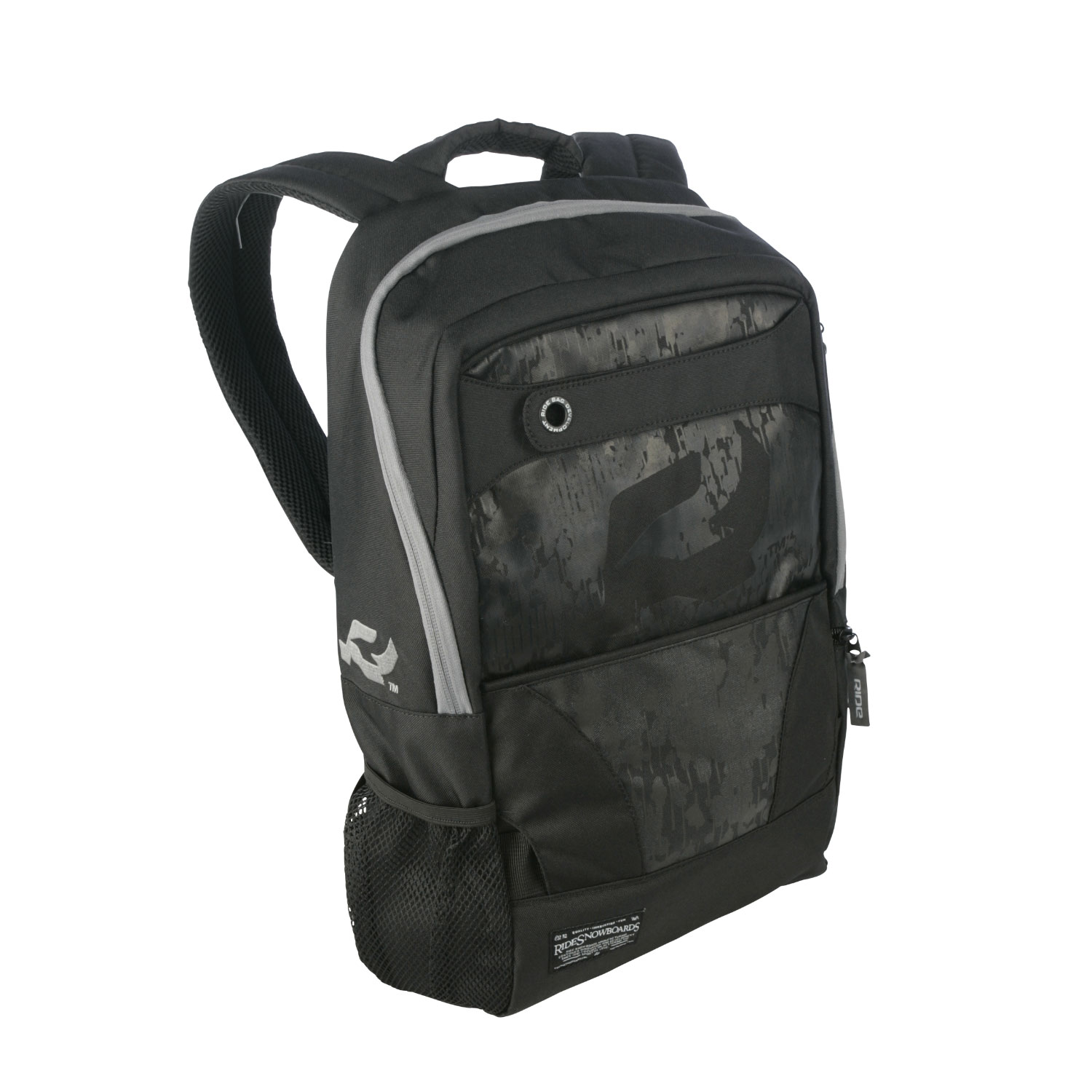Skateboard Cruise Around With Your Day-to-Day EssentialsKey Features of the Ride Rook Backpack: Slim Profile Pack Carries Skate Deck Vertical Lower Straps Stash to Hide When Not in Use Internal Padded Laptop Pocket Front Panel Stuff Pocket Padded Zipper Pocket for Your Shades Side Mesh Pocket Zippered Side Pocket - $23.95