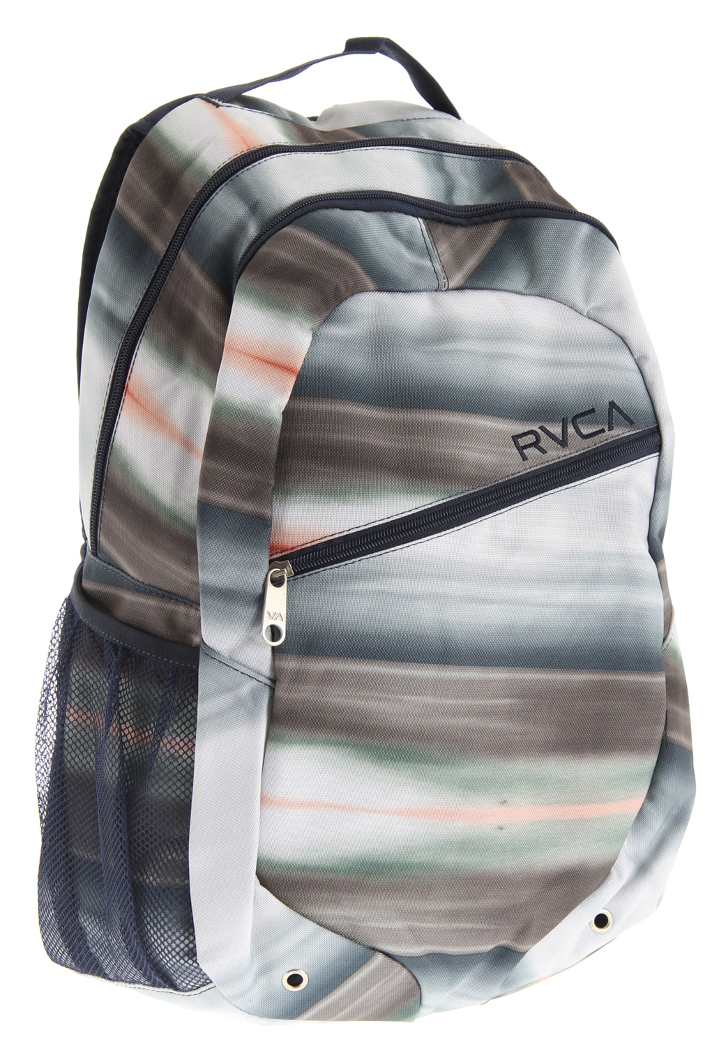 "Guns and Military Key Features of the RVCA Apocalypse Pak Backpack: Dimensions: 19"" x 13"" x 5.5"" 100% polyester printed backpack 3 zippered enclosed compartments with mesh water bottle holder at side Laptop compartment RVCA embroidery at front Embroidered VA applique at back Padded back and shoulder straps ANP woven label at shoulder strap - $31.95"