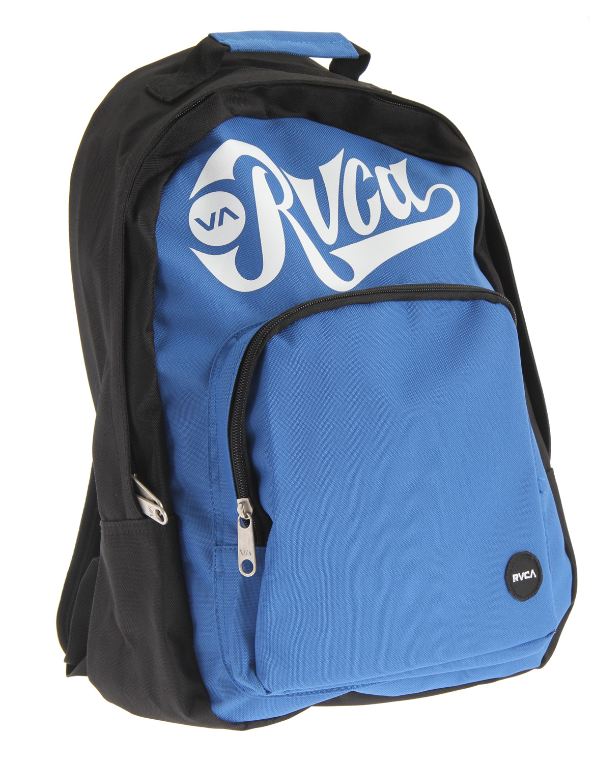 "Key Features of the RVCA Black Back Bomber Pak Backpack: Dimensions: 17"" x 13"" x 5.5"" 100% polyester backpack 2 zippered enclosed compartments Black contrast color at back RVCA screen print at front with RVCA woven patch at front pouch Padded shoulder straps - $25.95"