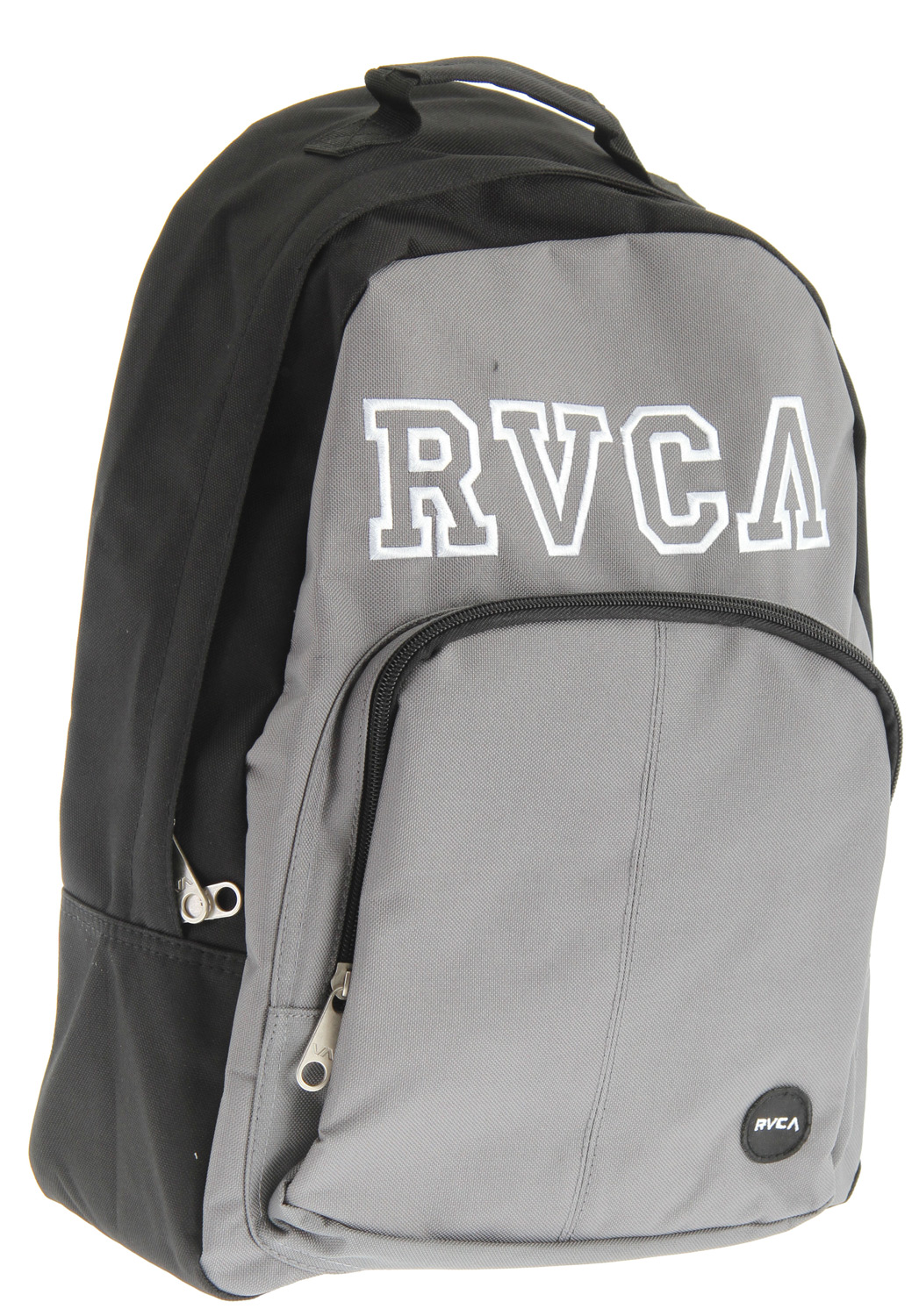 "Key Features of the RVCA College Drop Out Pak Backpack: Dimensions: 17"" x 13"" x 5.5"" 100% polyester backpack 2 zippered enclosed compartments RVCA embroidery at front with RVCA woven patch at front pouch Padded shoulder straps - $26.95"