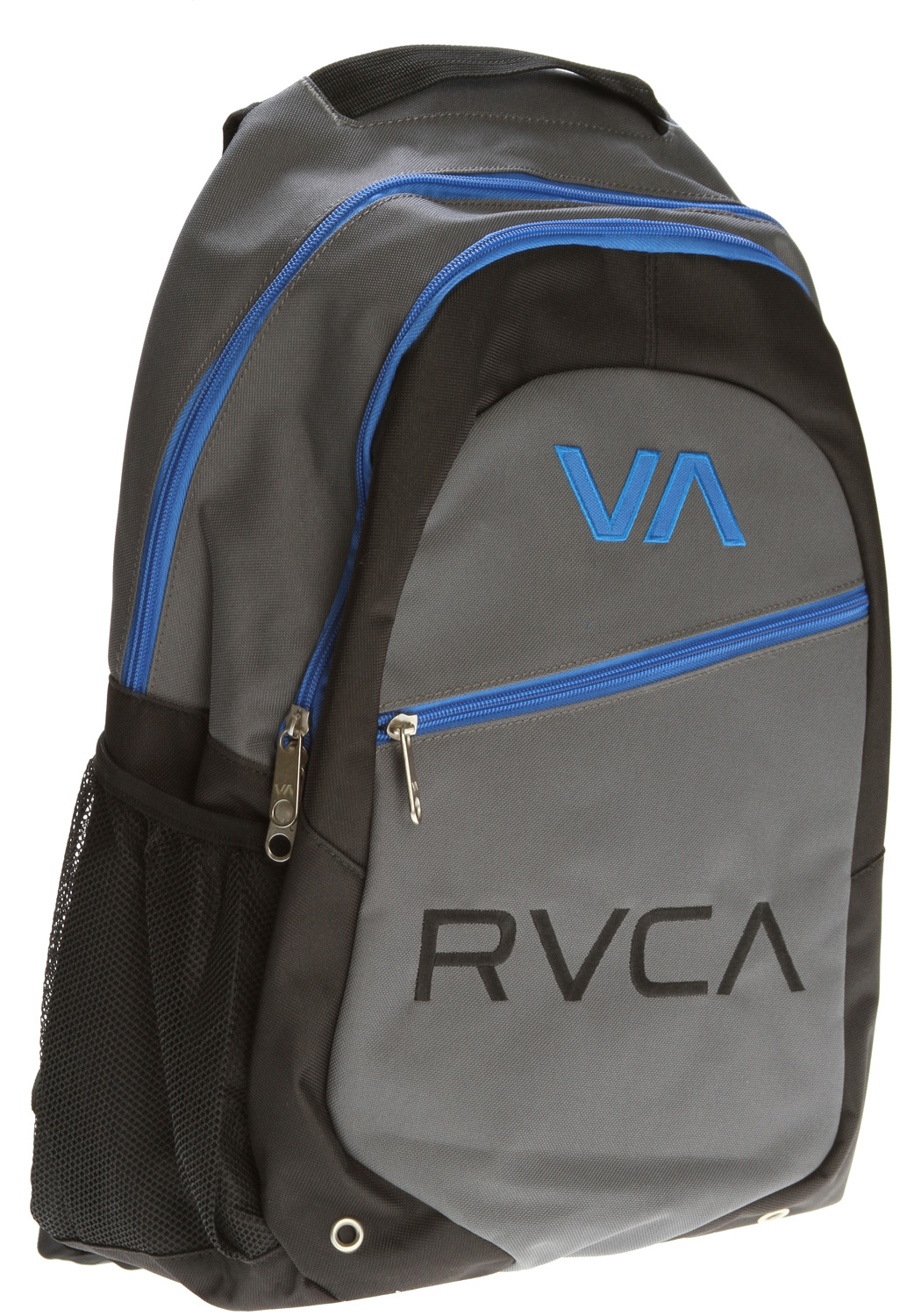 "Key Features of the RVCA RVCA Pak II Backpack: Dimensions: 19"" x 13"" x 5.5"" 100% Polyester back pack Three zippered enclosed compartments with lap top sleeve at interior Mesh water bottle holder at side Embroidered VA application and RVCA embroidery at front Embroidered VA applique at back Padded back and shoulder straps VA stacked woven label at shoulder strap Contrast binding at interior - $46.00"