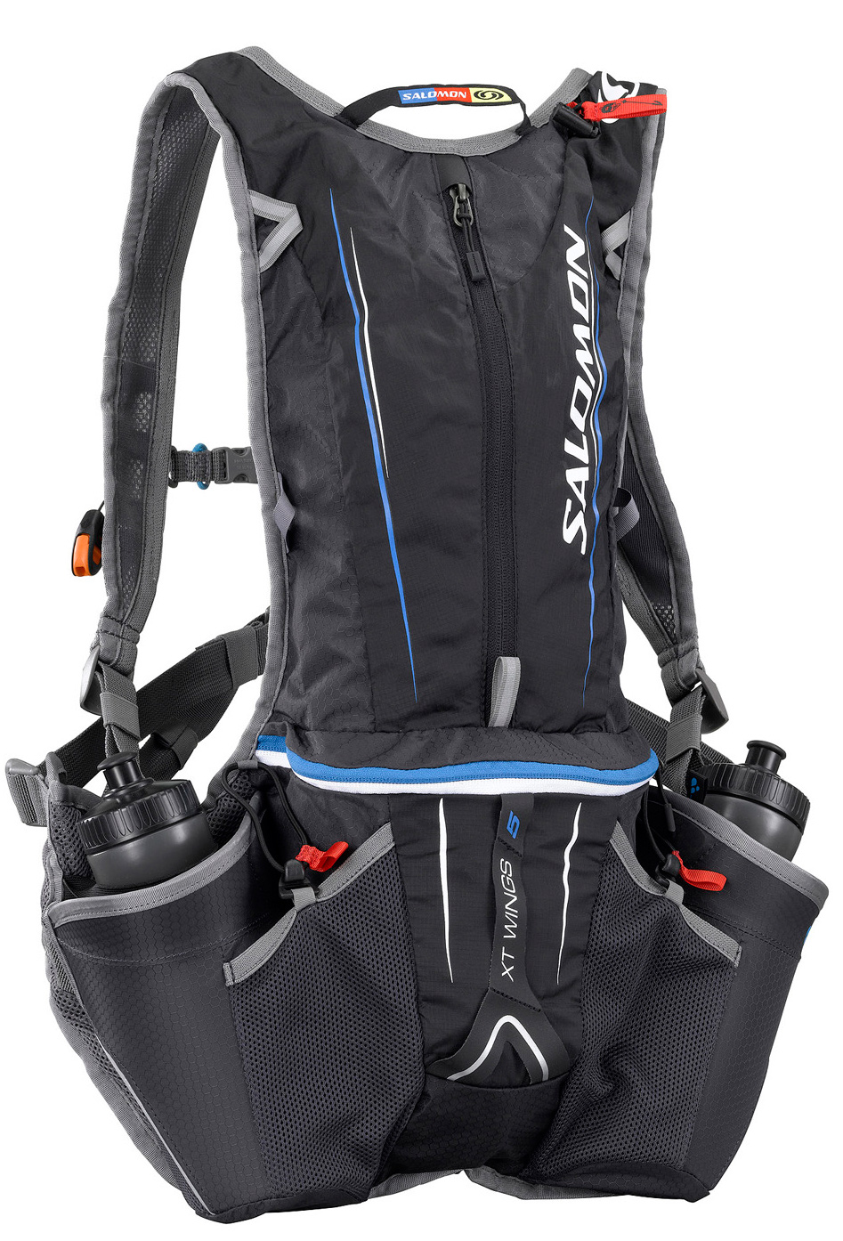 Fitness Upgraded with extra shoulder pocket for more storage. This very light weight pack built on the Airvent Agility system for stability and comfort. Includes 2 storage compartments and 2 bottle holders. For runners or adventure racers who prefer carrying water in bottles, the 4D system provides convenient, stable access.Key Features of the Salomon XT Wings 5 Bag: LITE shoulder straps Harness construction Waterproof zipper Quick fit belt Adjustable sternum strap Mesh side pocket Front pocket 2 main compartments Custom system 4D Pole holder 4D bottle holder Bladder compartment with hanging system 3D bottle included (600 ml/20 oz) Airvent Agility 70D PA*210T Ripstop PU 100D PA honeycomb 53 x 19 x 8 - $76.95