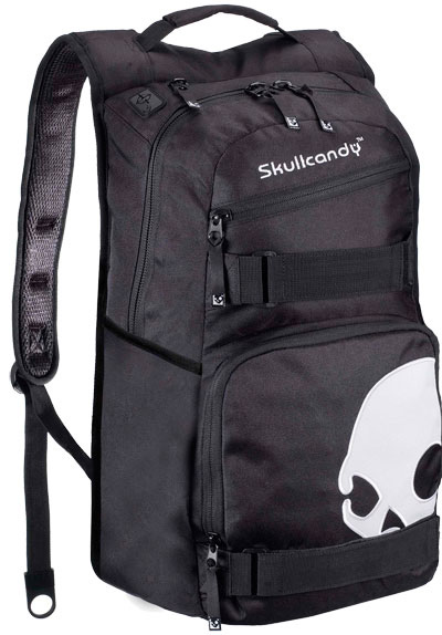 Skateboard Key Features of the Skullcandy Skulldaylong Backpack: Skate Straps Internal Organizer Cord Port Roller Painted 600D Poly - $28.95
