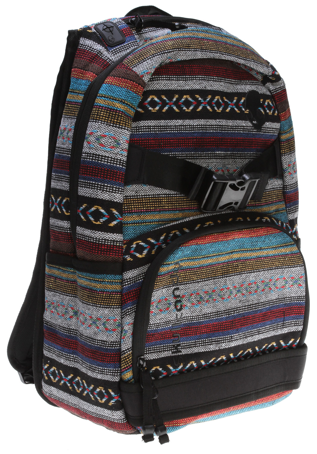 Skateboard The Skullcandy SKULLDAYLONG BACKPACK, keep it fresh-- all the skull day long.Key Features of the Skullcandy Skulldaylong Backpack: 600D roller print printed liner reverse tape zippers Front skate straps front zip pocket dual side utility pockets includes internal organization with- flap over velcro pocket zip pocket triple pencil holders. Large main compartment includes internal organizer with top load pocket and key clip. Top zip media pocket with 3 internal padded no scratch fleece lined velcro flap over pockets molded rubber cord port padded contoured straps padded back strap tension adjusters top padded carry handle front embroidered logo front applique skull logo back embroidered logos multiple woven loop labels logo gel tip zipper pulls - $34.95