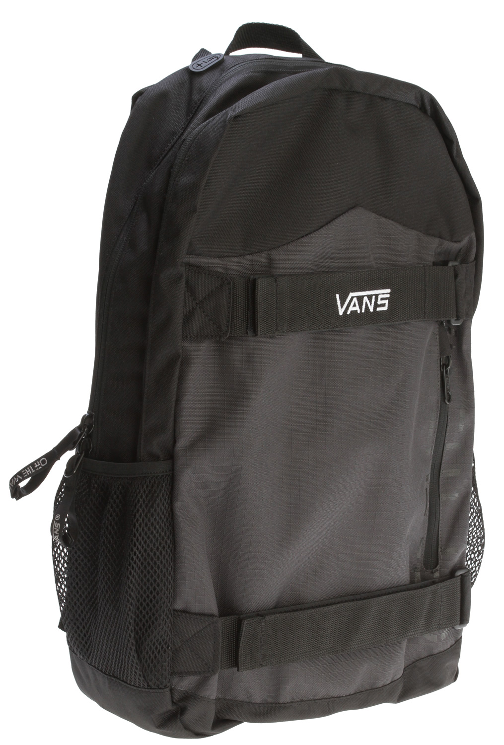 "Skateboard Key Features of the Vans Authentic Backpack: 600D Poly solid & ripstop, 2x PU-backed fabric - Front skate straps with VELCRO closures - Neoprene pocket with custom audio port - 600D padded back panel with waffle quilt stitching - Side mesh pockets - Front stash pocket - Interior organization - Vans logo embroidered on skate strap - ""Off the Wall"" screen print on front panel - Logo zipper pulls - $28.95"