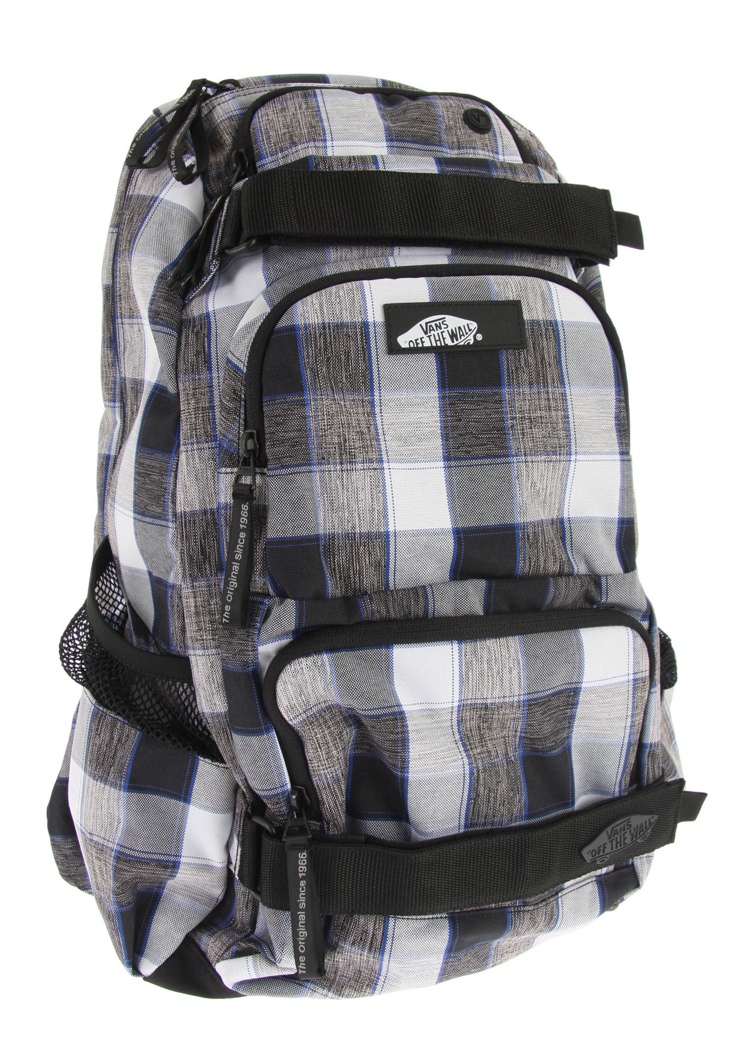 Skateboard The Vans Treflip Backpack has an ultra modern skate pack design, which incorporates state-of-the-art innovations like integrated internal organizers, a padded top pocket for media player or sunglasses, a padded internal cell phone pocket, an easy-access laptop sleeve, a large main compartment, side mesh stash pockets, extra cushioned shoulder straps and adjustable skateboard straps. Made of sturdy 100% polyester with thermoplastic backing. - $27.95