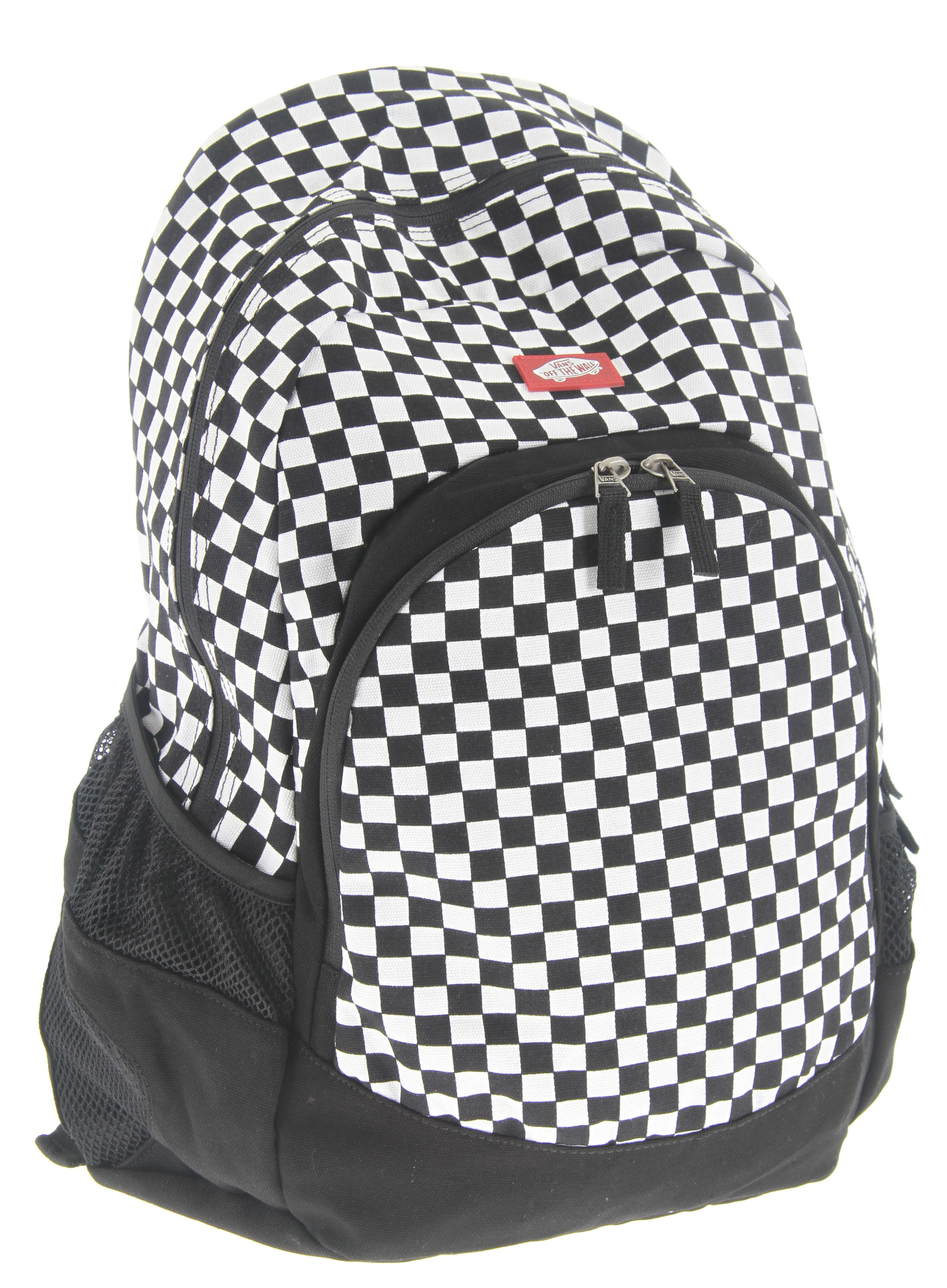 Skateboard Key Features of the Vans Van Doren Backpack: 100% Cotton Canvas backpack Front pocket with internal organizer Side mesh stash pockets Custom logo zip pulls and rubber heel tab details - $27.95