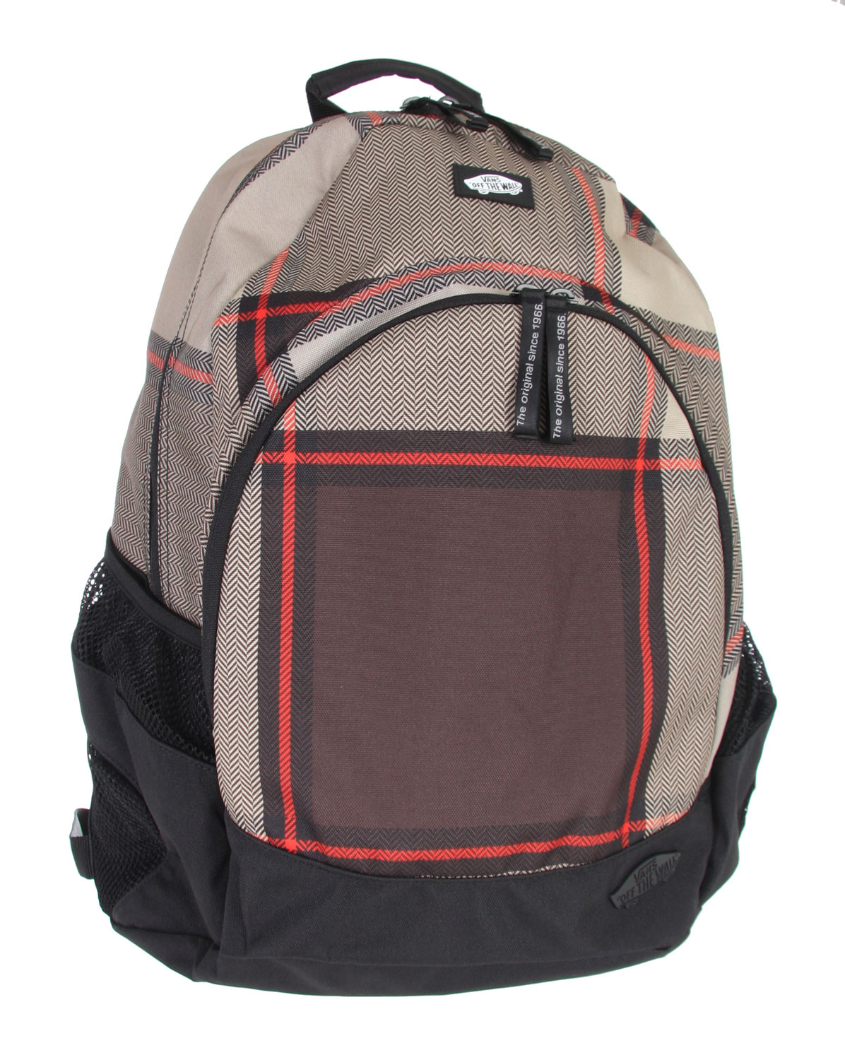 Skateboard The roomy Van Doren is a simple but perfectly designed backpack that finds favor with both those who are going to school, and those who are going out for an all-day skate session. Outside is a bold herringbone pattern-inlayed plaid print, and inside is a roomy main compartment. It also features a front pocket with an internal organizer, handy side mesh pockets, and comfortable shoulder straps. Made of sturdy 100% cotton canvas. - $23.95