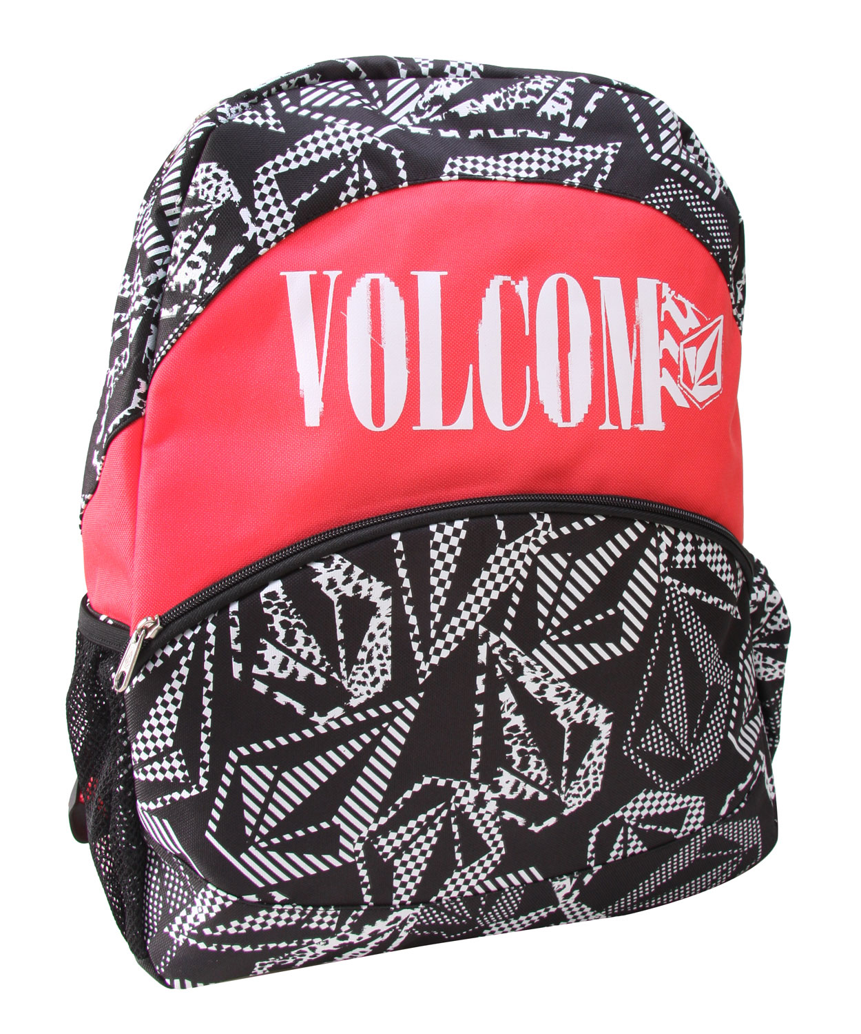 "Surf The Volcom Charm School backpack is the ultimate gear pack for snowboarders, but it will also meet the needs of other outdoor sports enthusiasts. The Volcom Screen Print front is a fashion statement on the slopes, but this backpack delivers durability and added features too. The convenient side access H2O pocket and mesh front pockets keep all your necessities easily in reach while the main pack is the perfect size to hold your gear without being bulky and overwhelming to carry.Key Features of The Volcom Charm School Women's Backpack: Printed Poly Backpack with Volcom Screen Print at Front and Mesh H20 Pocket at Side Volcom Embroidery at Handle and Large Stone Embroidery at Back Exterior Front Pocket and Interior Mesh Zipper Pocket 14""W x 17""H x 4.5""D Volume: 19 Liters - $22.95"