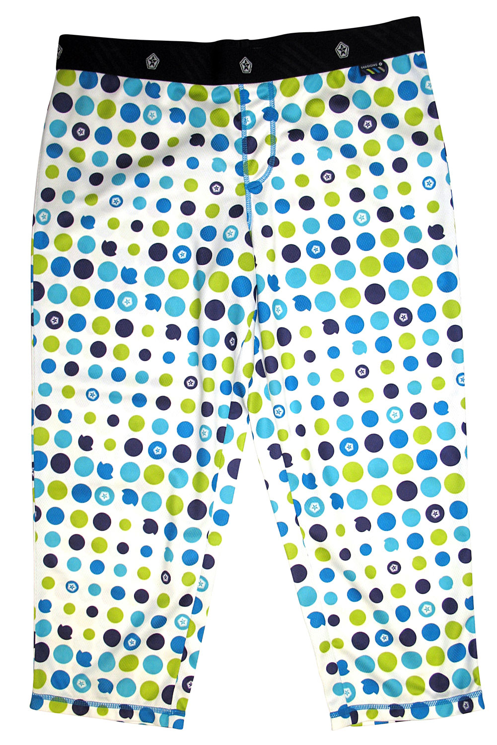 Rock these fabulous capri pants all summer long. The Sessions Edge Capri features a colorful polka dot design throughout. This stretch fabric is ultra comfortable and cool. Falling below the knees, this is a great look for summer providing great breathability and fit. Add this Sessions Edge Capri to your wardrobe and rock it all summer long.Key Features of The Sessions Edge Capris Women's 1st Layer Pants: Stretch Flat Lock Seams Articulated Body - $24.95