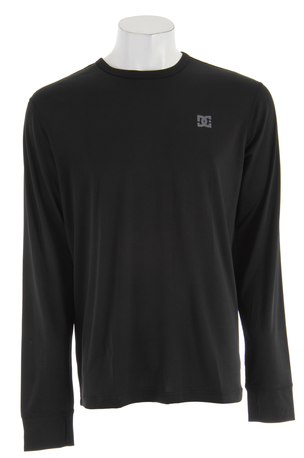 Core fit long sleeve crew neck insulating shirt with wicking proprieties, thumb hole and cuff and logo screenprint at chest. 95% polyester / 5 % spandex. - $29.95