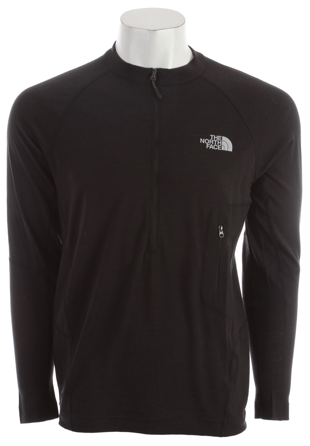 "A technical, next-to-skin layer with the comfort range, inherent odor management and durability of wool. Key Features of the The North Face Litho L/S 1/4 Zip Baselayer Top: Athletically cut and patternmapped with vertical activity in mind Intuitive, easy-access, zippered pocket secures essentials Avg weight: 6.2 oz (175 g) Center back: 27"" Fabric: 145 g/m2 19.0 micron 100% merino wool jersey - $68.95"