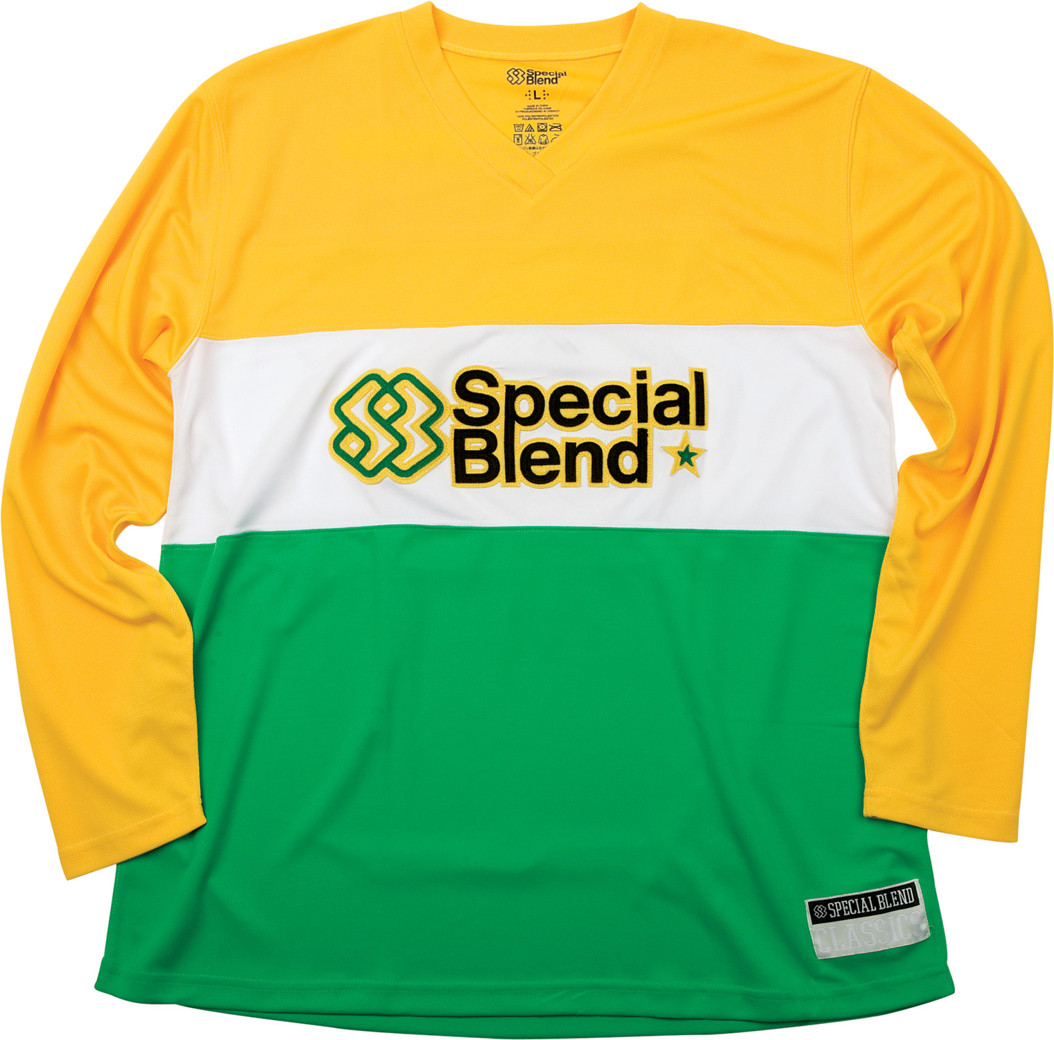 Key Features of the Special Blend Long Sleeve Jersey Baselayer Top: 100% polyester Wicking properties Cover stitched seams Anti-bacterial added on fabric to prevent odor Chest and back logo felt applique Color block - $49.95