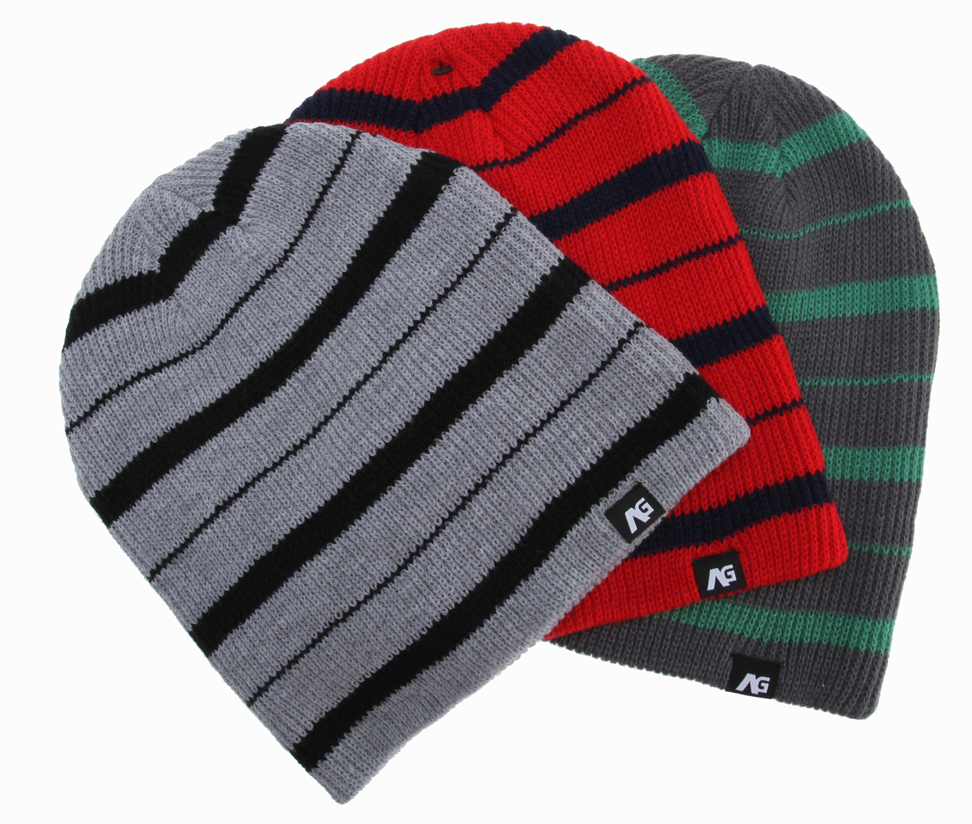 Key Features of the Analog Slouch Beanies 3 Pack: Acrylic . Striped Yarn Dye Multi-Color 3 Pack. Slouch Fit - $28.00