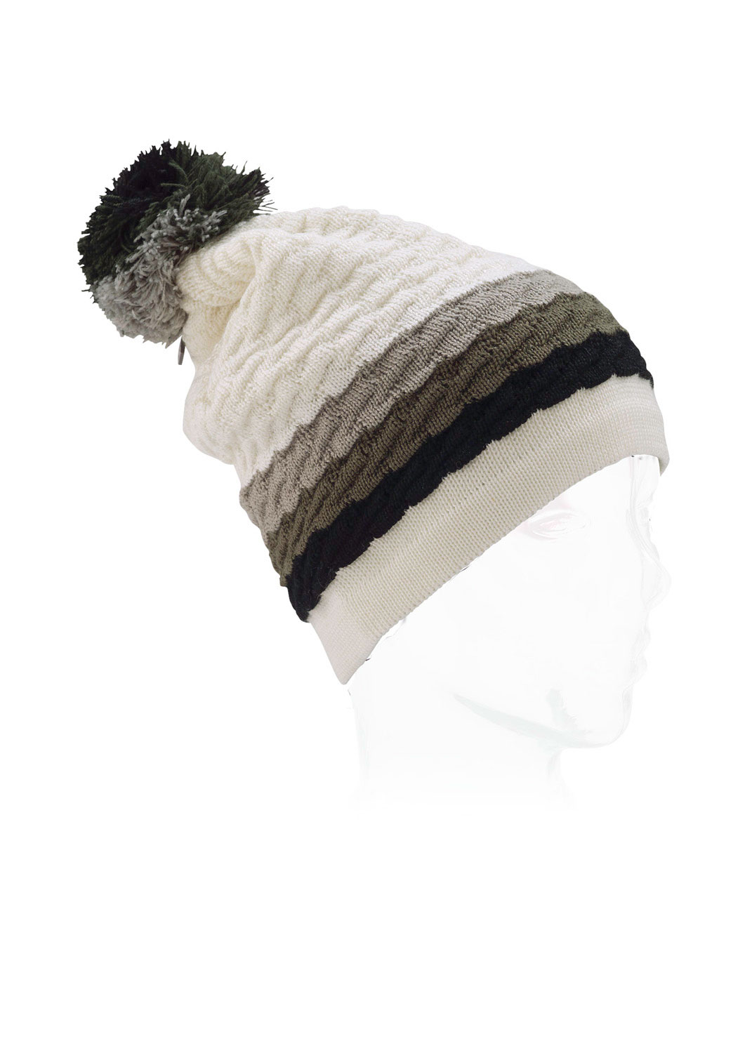 Snowboard Burton has truly outdone themselves with this beanie. A tri-color poofball adorns the top of this generously cut hat, with three cable knit stripes around the forehead. The generous cut gives you that slouchy look that's so in demand these days (plus lots of lee room to pull the thing down over your ears when the weather demands it). The Burton logo is very tastefully placed in the poof ball itself. Why not give this beanie a spin this cold weather season?Key Features of the Burton Love Beanie: 60% Acrylic, 40% Merino Wool Horizontal Cable Striped Beanie Burton Logo Charm at Pom Slouchy Fit - $17.95