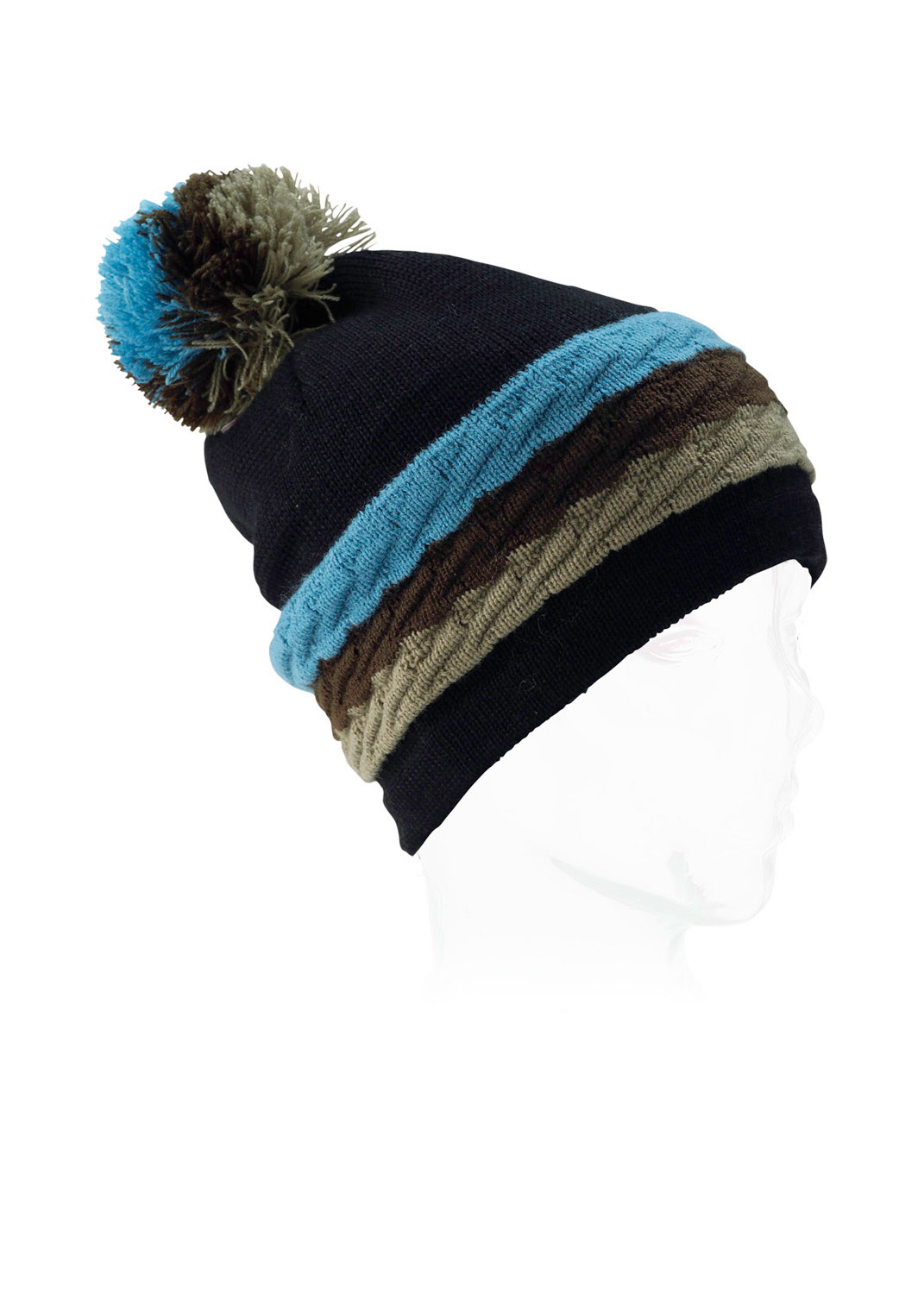 Snowboard Burton has truly outdone themselves with this beanie. A tri-color poofball adorns the top of this generously cut hat, with three cable knit stripes around the forehead. The generous cut gives you that slouchy look that's so in demand these days (plus lots of lee room to pull the thing down over your ears when the weather demands it). The Burton logo is very tastefully placed in the poof ball itself. Why not give this beanie a spin this cold weather season?Key Features of the Burton Love Beanie: 60% Acrylic, 40% Merino Wool Horizontal Cable Striped Beanie Burton Logo Charm at Pom Slouchy Fit - $14.95