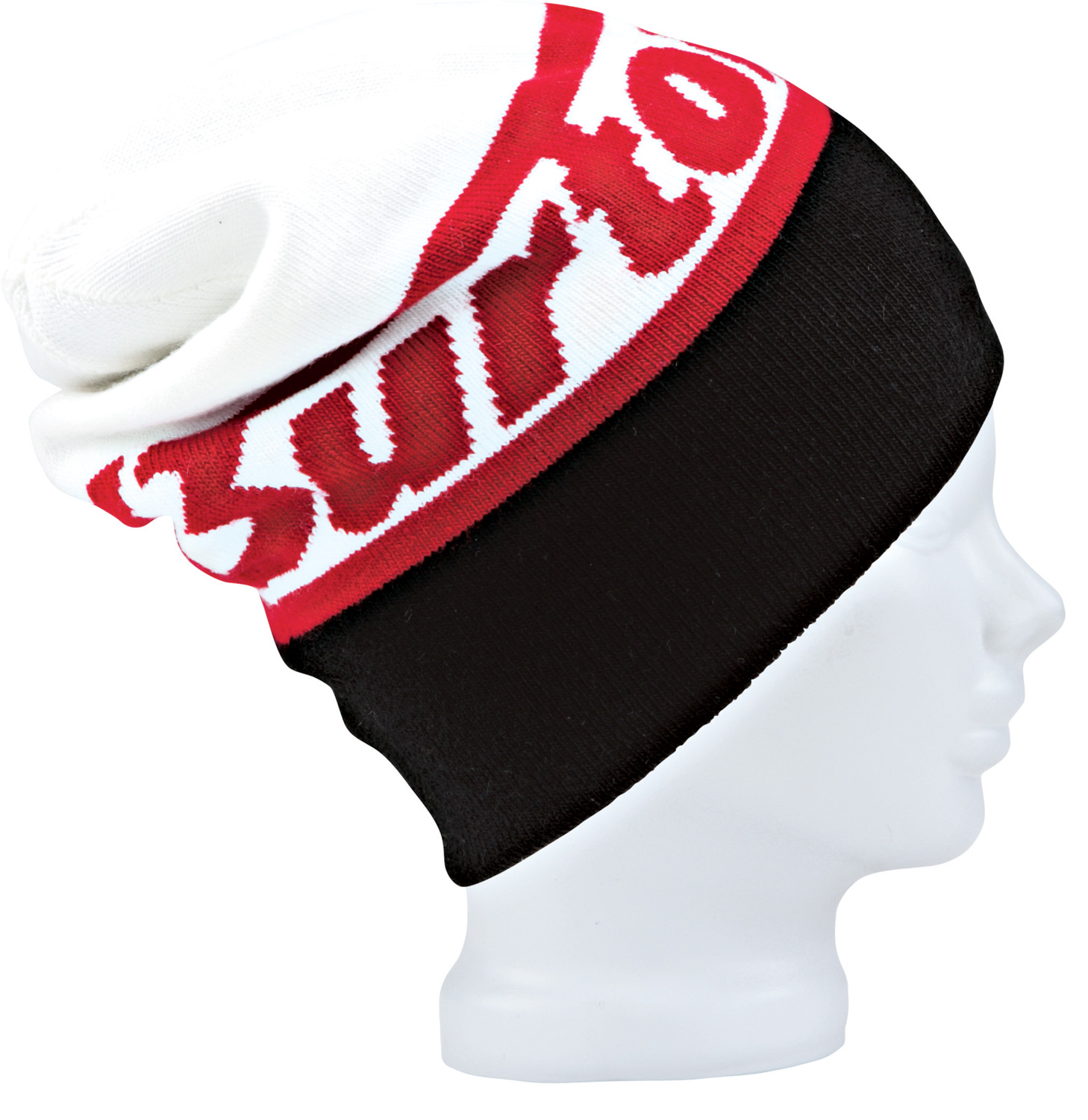 Snowboard Key Features of the Burton Marquee Beanie: Skully Fit One Size Fits All Reversible Jacquard Logo Beanie Colored Blocked Word Mark with Stripes on Reverse 100% Acrylic/Brimmed Beanie - $20.95
