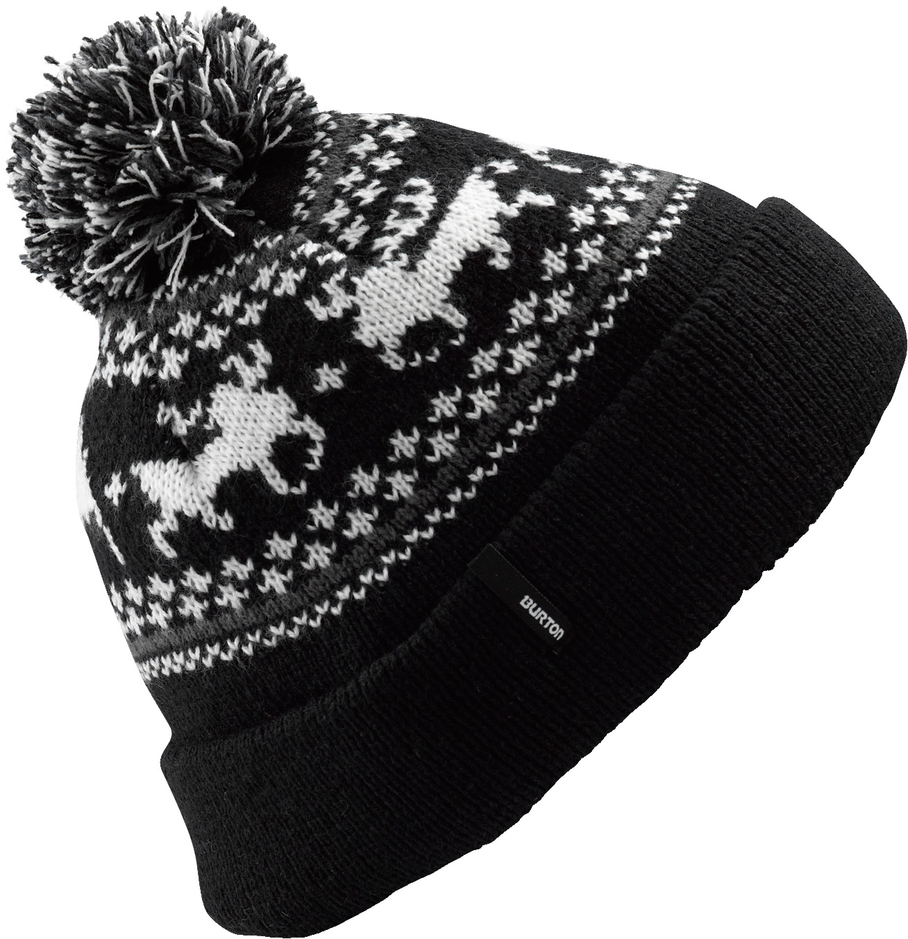 Snowboard Key Features of the Burton Mountain Man Beanie: 100% Acrylic Fair Isle Mountain Logo Jacquard with Pom Skully Fit - $25.00