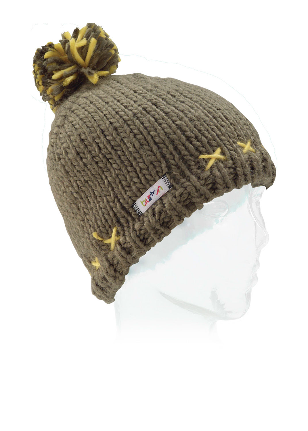 Snowboard This softly knit cap is actually pretty with a woven, contrast color, X style design around the lower edge, a multi-colored pom pom on top and a ribbing finish, you can step out in style on the slopes. This is one of the cutest beanies ever. Referred to as a skully fit, the cap fits snug to the head and over the ears and brows to keep you warm. A Burton Beanie will please everyone on your list, whether you are going on a sports trip or buying gifts for someone who is. - $12.56