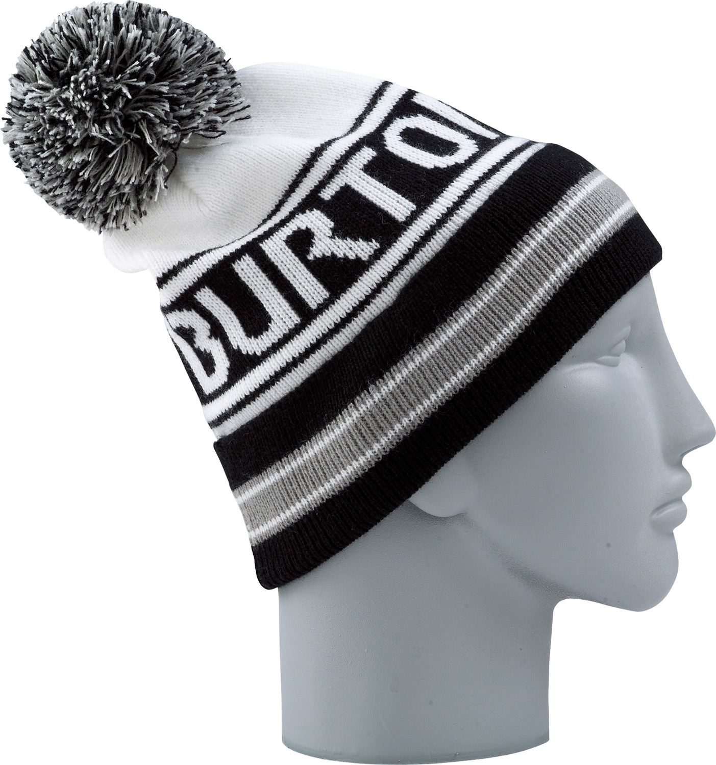 Snowboard Key Features of the Burton Trope Beanie: Fold-Up Skully Fit One Size Fits All 100% Acrylic/Vintage Stripe Beanie with Pom - $24.95