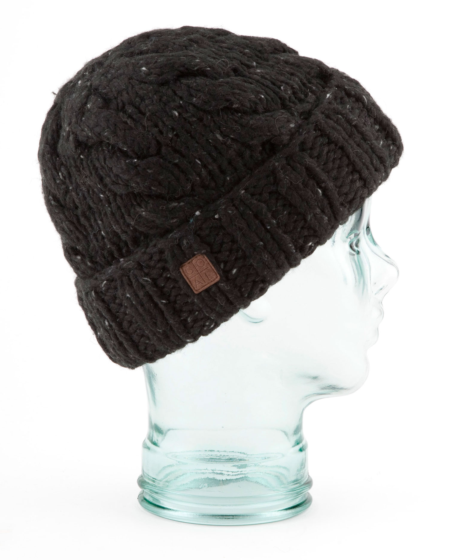 New for Fall 12 is a traditional chunky hand-knit Nordic beanie with a cabled body and thick rib cuff. Old school flecks of color accent the yarn, trimmed with a suede label. Wool blend. - $23.95