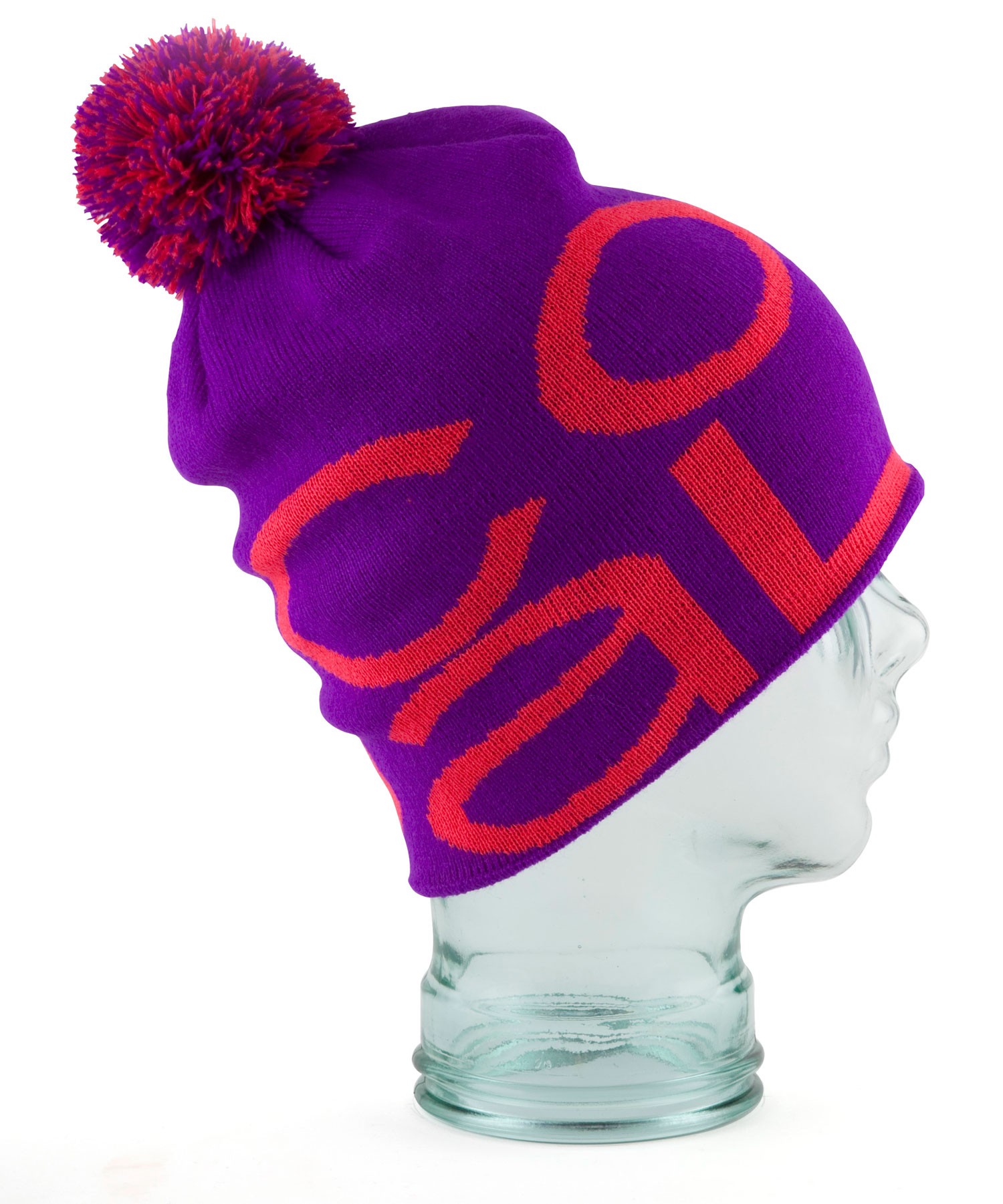 A modern oversized beanie with all-over jacquard branding and multi-colored pom pom. Fine acrylic. - $20.00