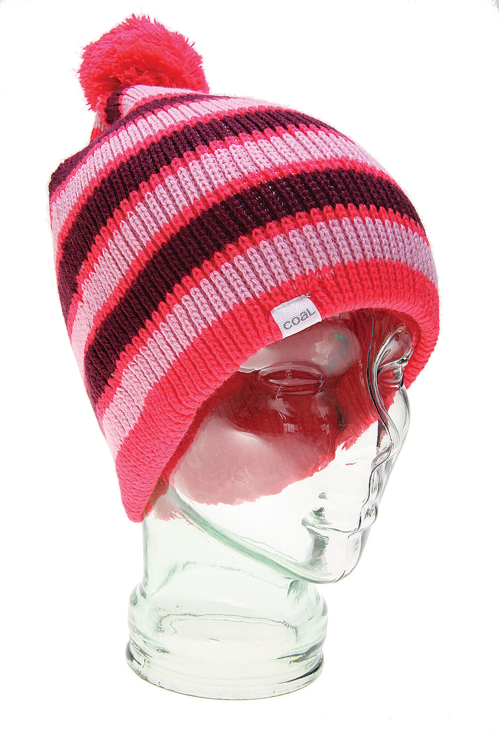 The Coal The Revert Beanie - Pop Colors and Stripes on the Outside, Solid Colors are Contrast Stitching on the Inside. A Reversible Beanie with Removable Pom Pom Options / Cashmere - Like AcrylicCashmere-like Acrylic - $16.95