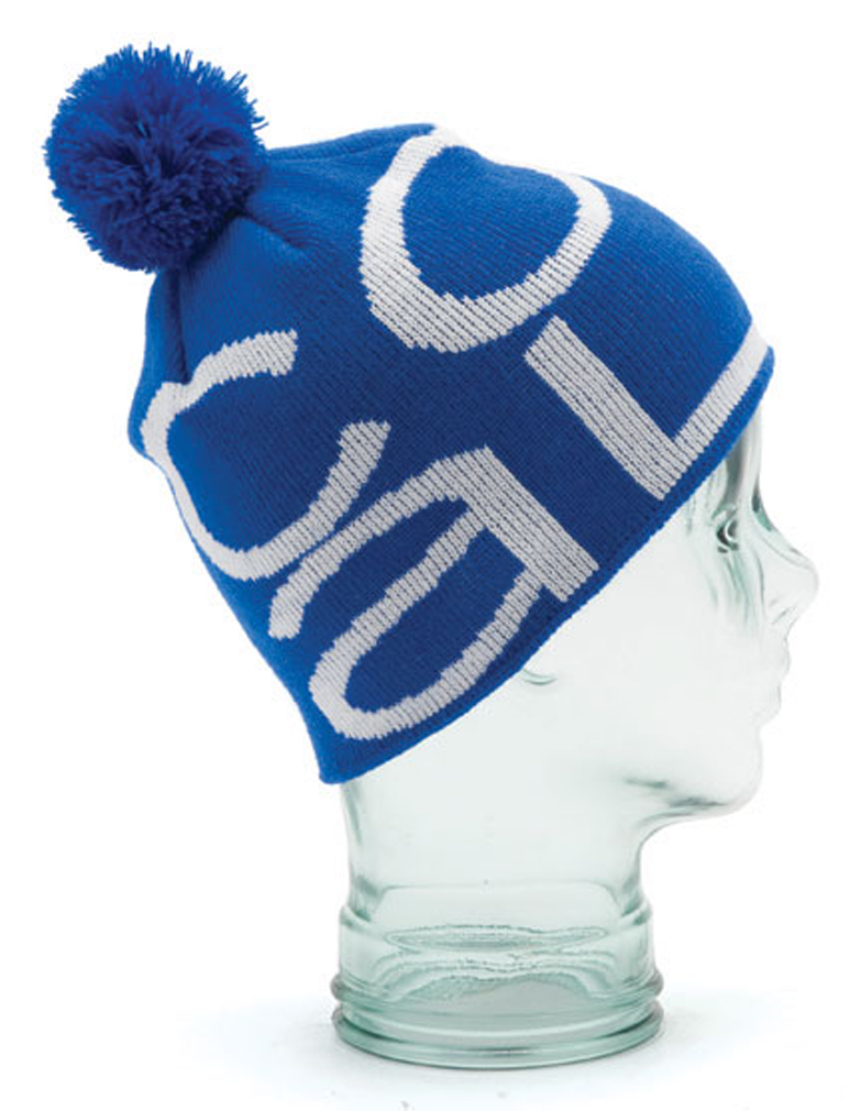 Fine-knit jacquard logo in the Modern it. Scaled down just enough that could be worn as a traditional fitting beanie by your big bro. Fine Acrylic. - $10.95
