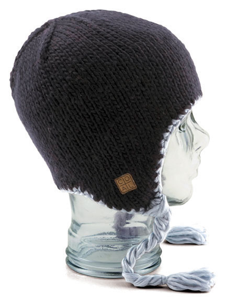 Updated and reined chunky-knit earlap beanie with contrast detail and tassels. Fleece banding for added warmth. Silky Acrylic. - $22.95