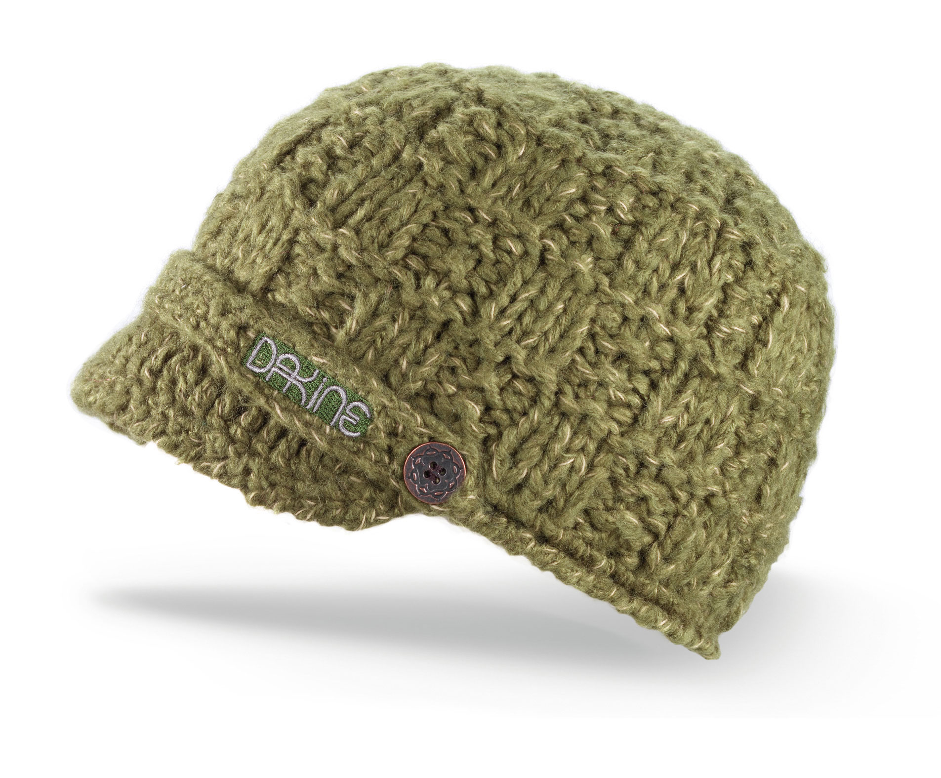 Snowboard Key Features of the Dakine Audrey Beanie: Hand crocheted basket knit Mixed acrylic/nylon yarn Full fleece lining Soft visor - $29.95