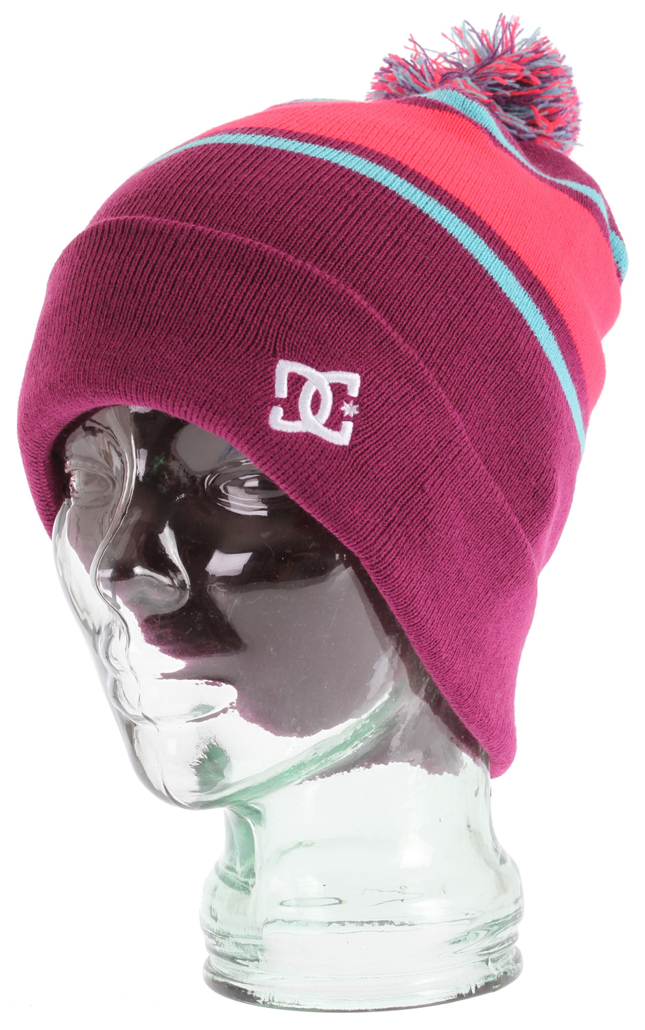 Pom topped cuffed standard beanie with jacquarded stripes. 100% acrylic - $19.95