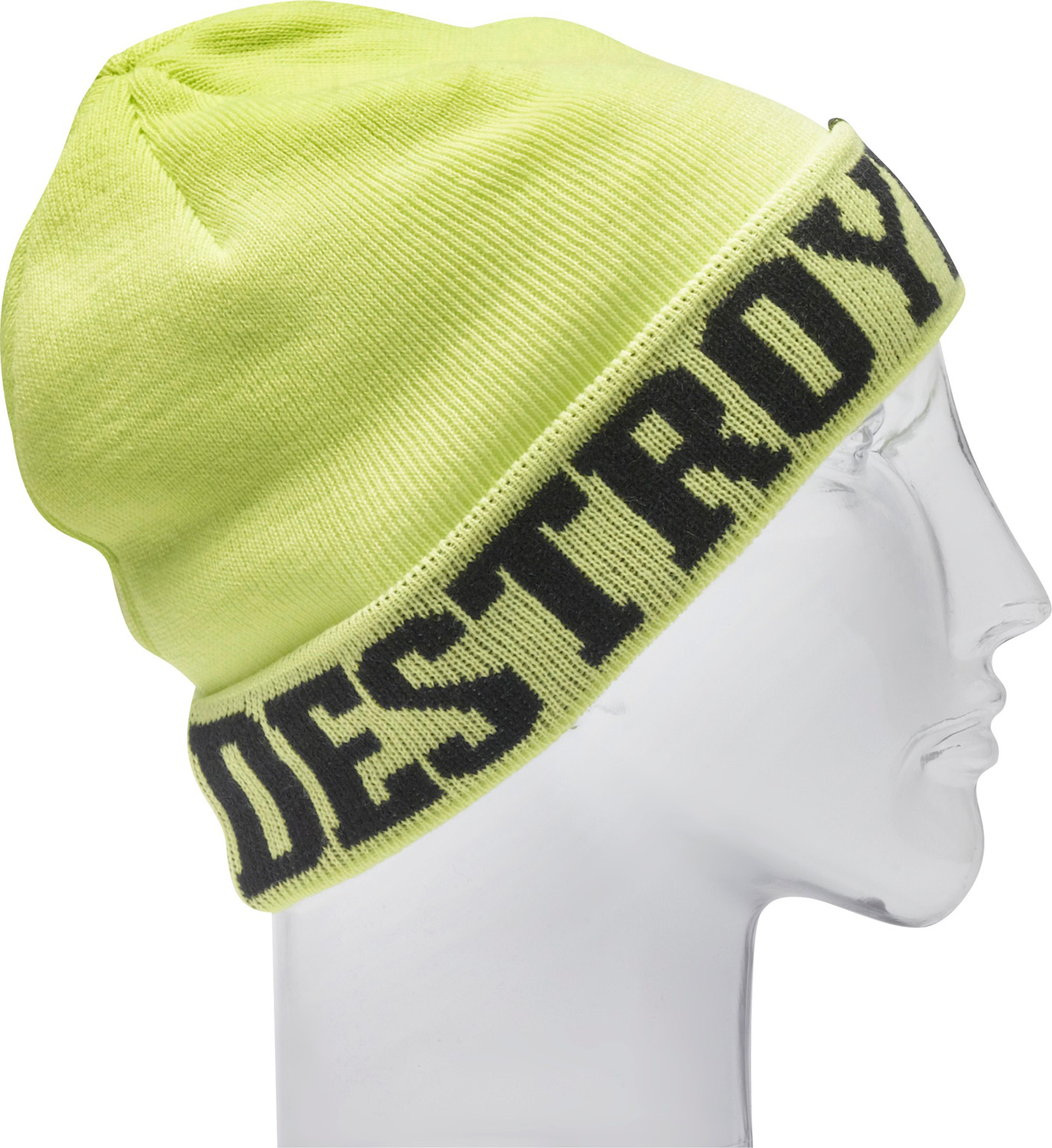 "Put this on your head and get ready to destroy all obstacles.  Machine knit   100% acrylic   7 1/2"" tall   Fine gauge jacquard beanie   One size fits all - $13.95"