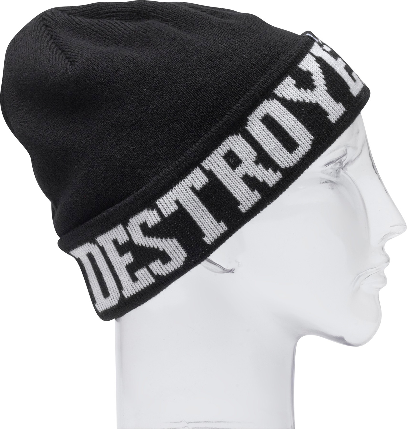 "Key Features of the Destroyer Beanie Forum: Machine knit 100% acrylic 7 1/2"" tall Fine gauge jacquard beanie One size fits all - $17.95"