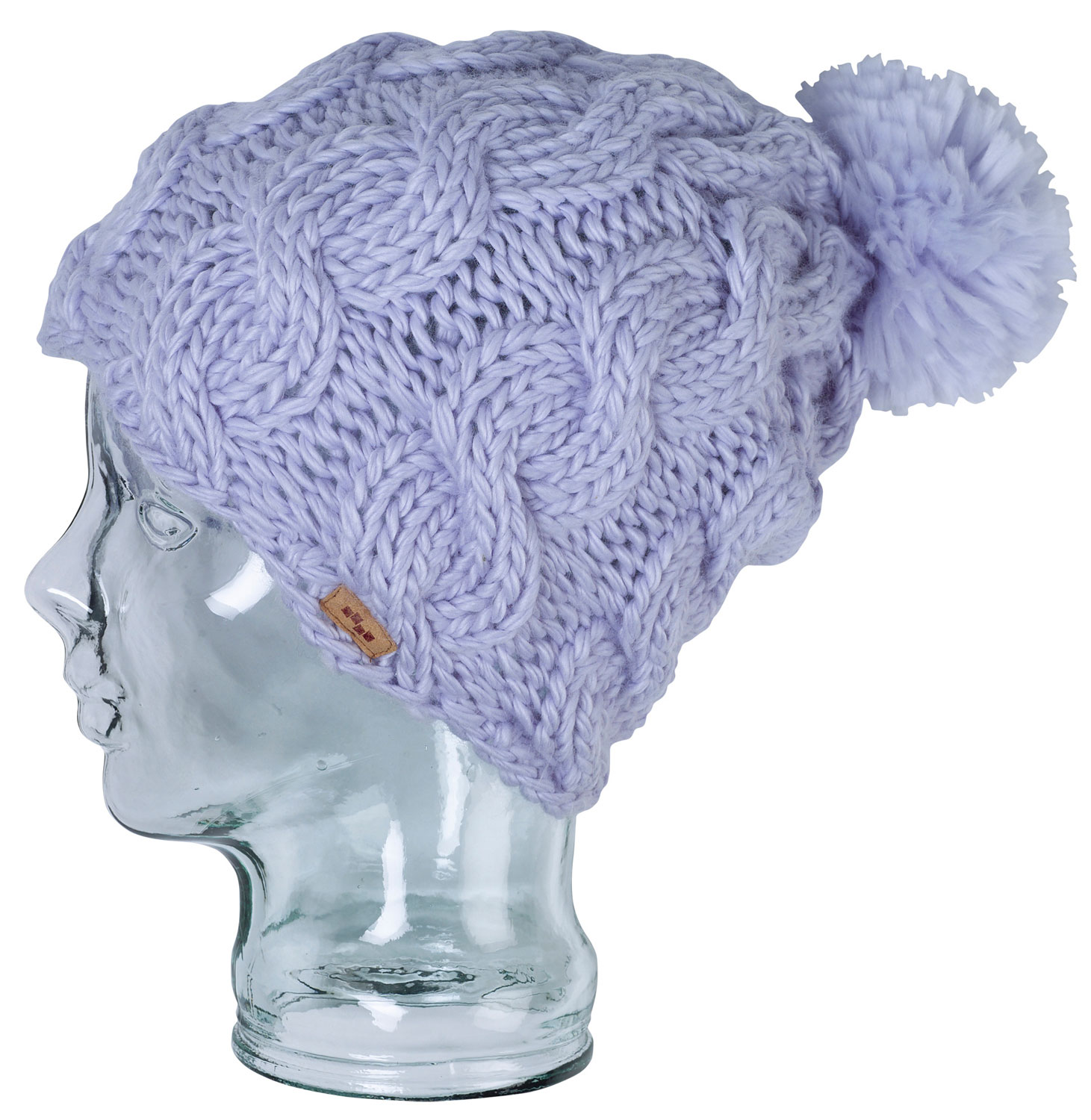 Snowboard Foursquare's Mop Top cable knit hat is the warm, comfortable choice for the sportswoman on the go. The Mop Top is machine-knit of soft, brushed acrylic, giving it remarkable durability and a plush feel. Easy to care for and machine-washable, the Mop Top has a crocheted seam edge, a deep-pile pompom on top, and an authentic Foursquare logo detail sewn in leather. The wide-spaced cable design is stylish but also gives excellent stretch for a great-fitting hat you'll love. - $12.95