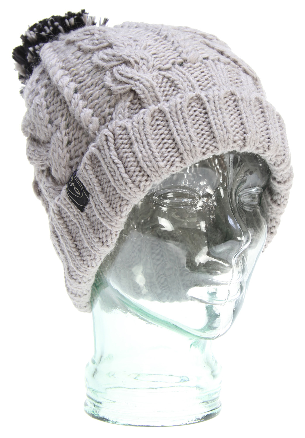 Soft two tone acrylic beanie, with roll up rib cuff, pom and loop label. - $29.95