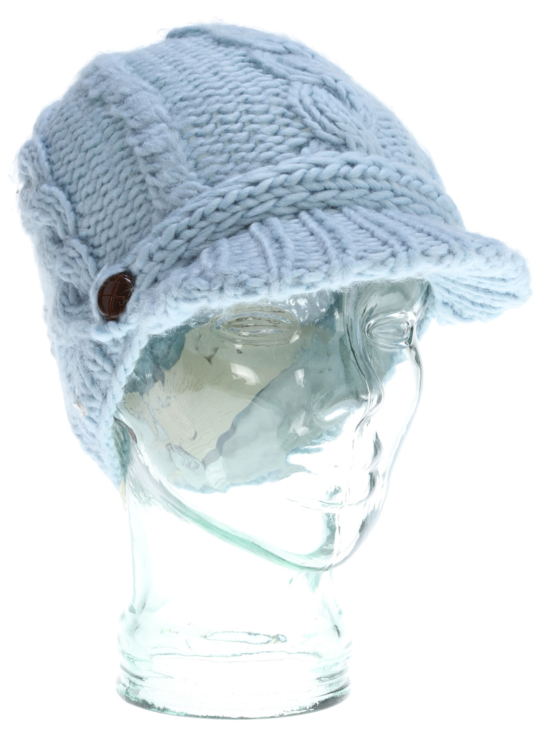 Soft colors and soft fabric make this gently elegant beanie a cozy offering.Key Features of the Prana Nina Beanie: Cable knit visor beanie style Fleece inner band Soft and cozy with light color offering Front band with button tab trim detail Standard Fit 50% Wool / 50% Acrylic - $26.95