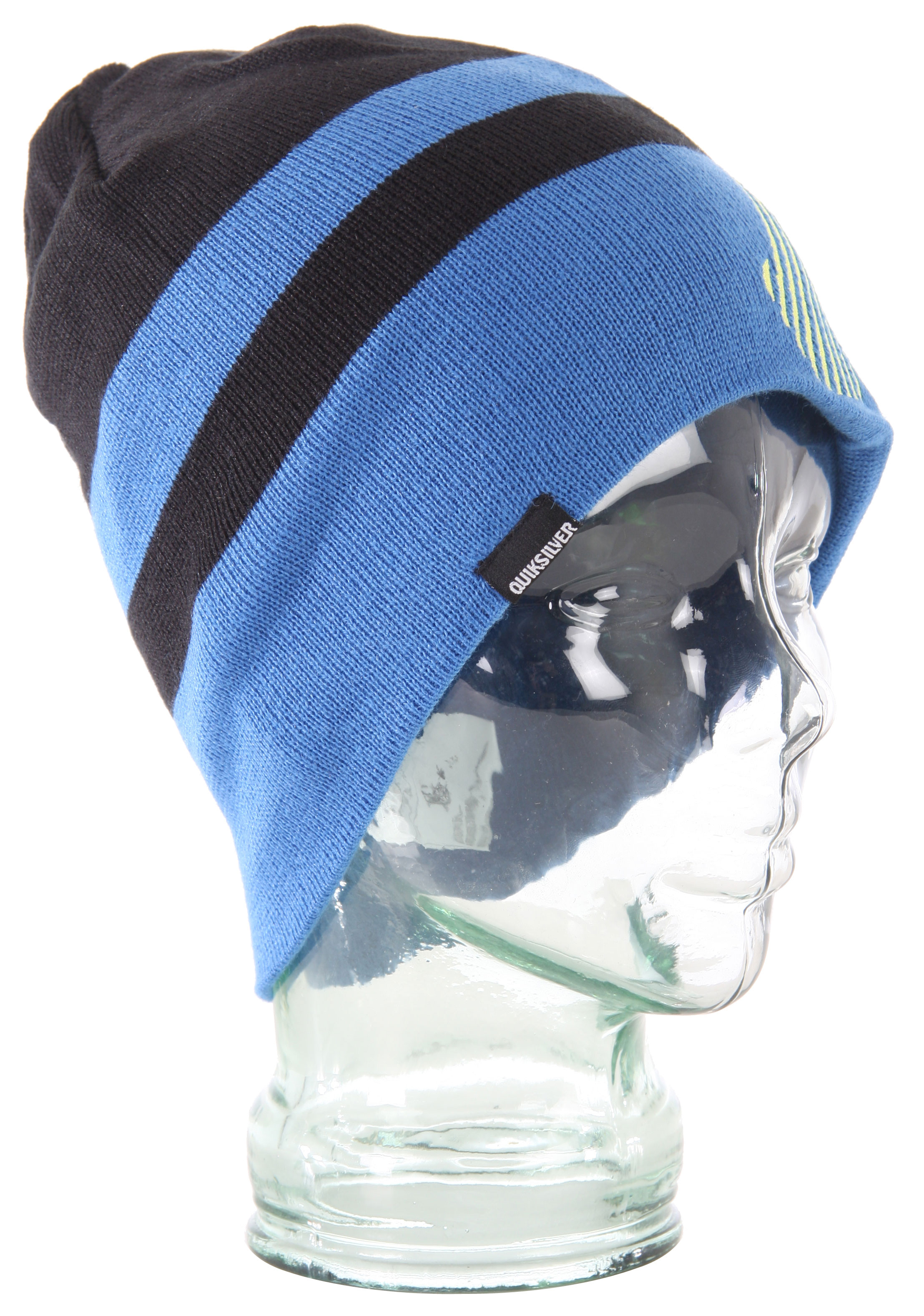 "Surf A jibber for the noggin, this knit cap has looks and a name that says it all.Key Features of the Quiksilver Jibber Beanie: 100% acrylic Reversible flat knit beanie Large striped exterior w/logo embroidery Solid interior with Quiksilver flag label 9.5"" fit One size only - $13.95"