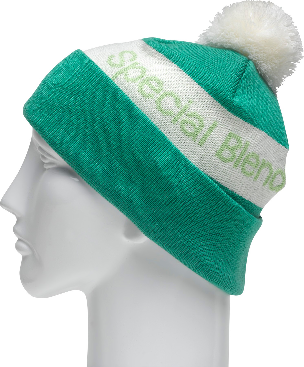 Key Features of the Special Blend Townie Beanie: Machine Knit 100% Acrylic Fold Style Jacquard Stripe With Pom - $17.95