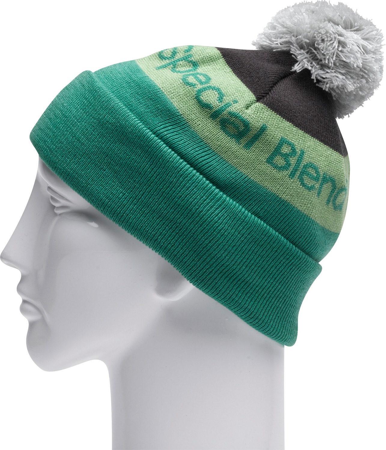 "Key Features of the Special Blend Townie Beanie: Machine knit 100% soft acrylic 11"" tall Jacquard stripe with pom One size fits all - $25.95"