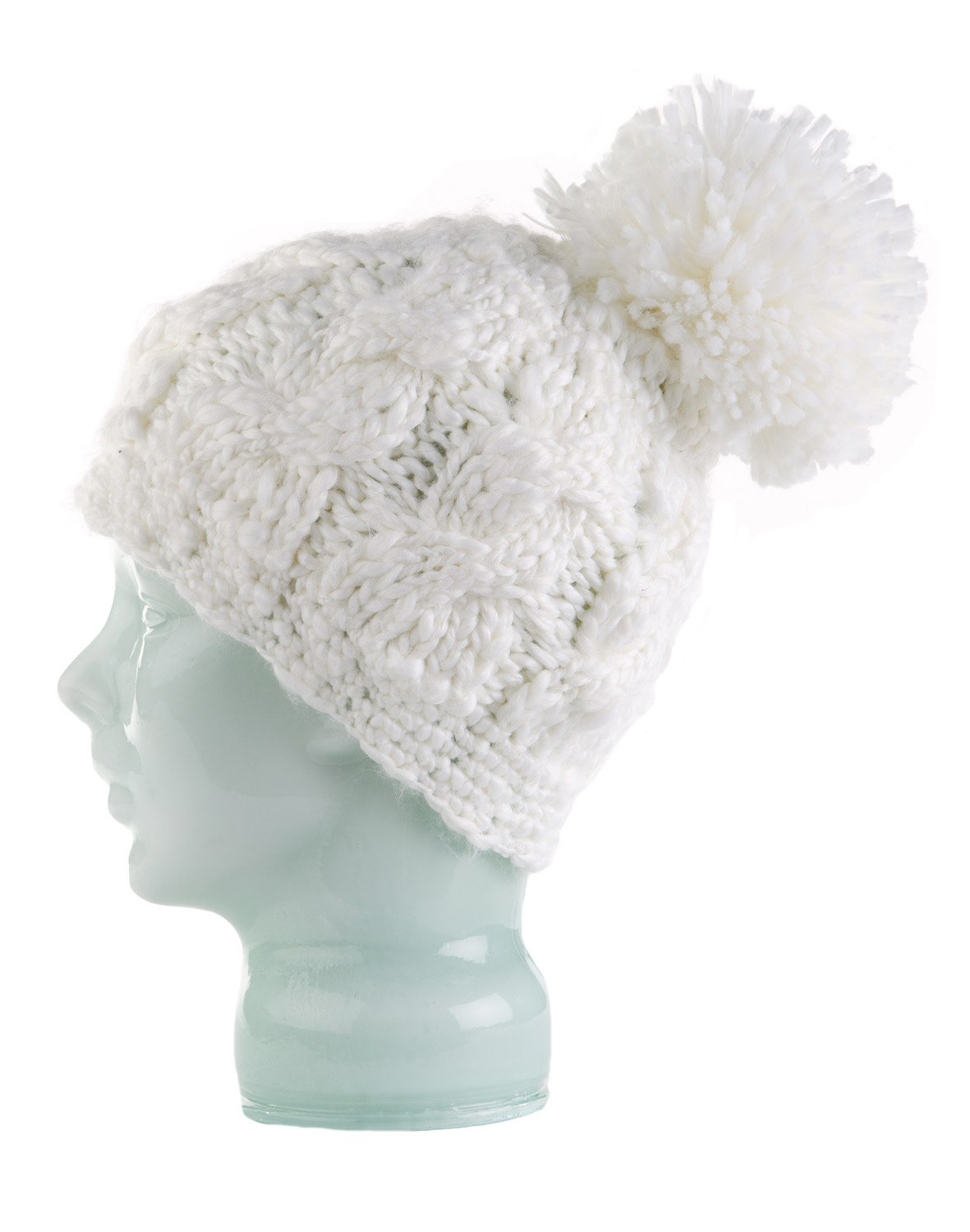 Key Features of the Spacecraft Snuffle Pom Beanie: Slouchy Fit Soft cable knit beanie with large fluffy pom and custom metal trim Material: Soft Acrylic - $27.95