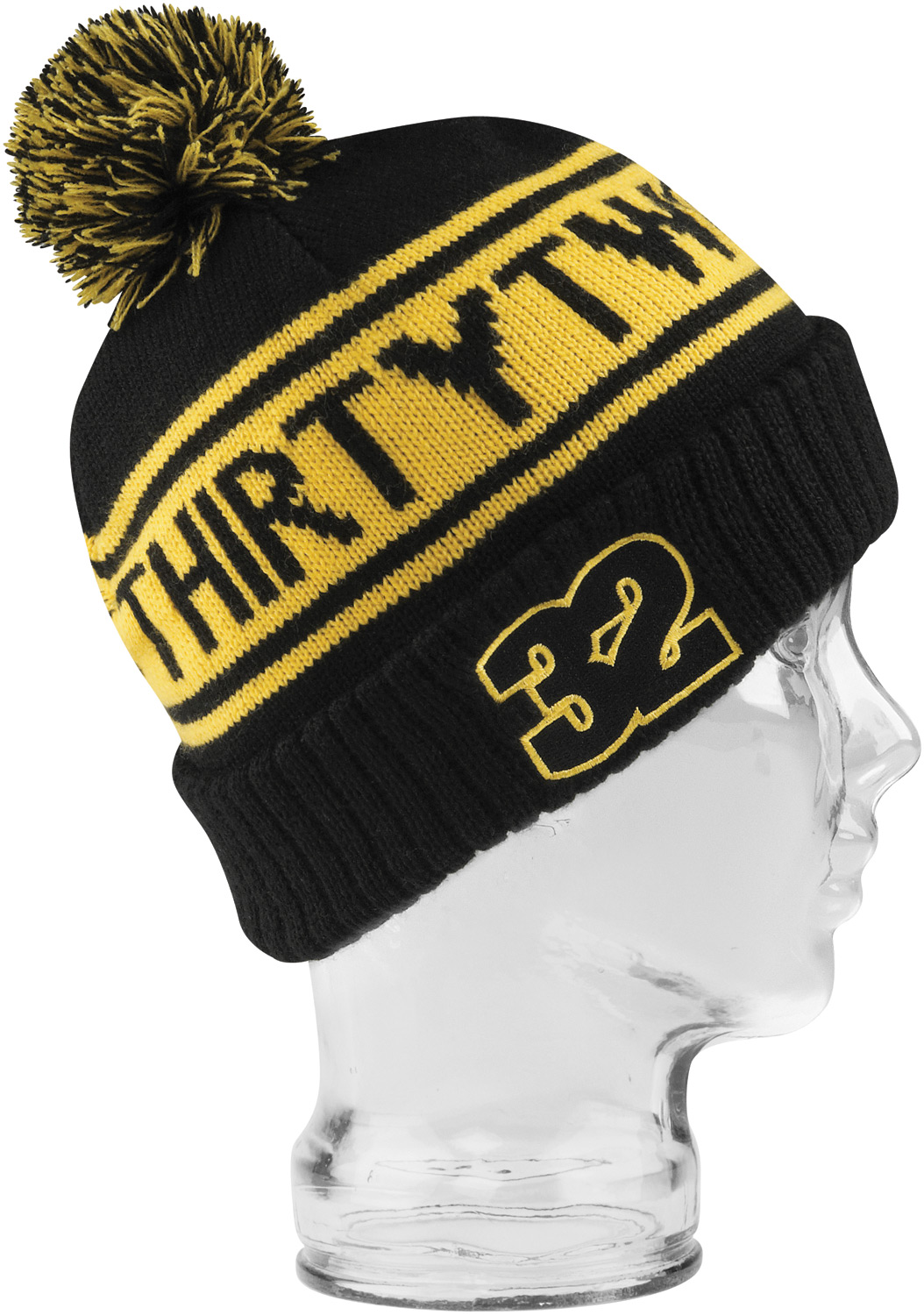 Key Features of the 32 - Thirty Two Peeping Pom Beanie: 100% acrylic retro cuff beanie with jacquard logo - $19.95