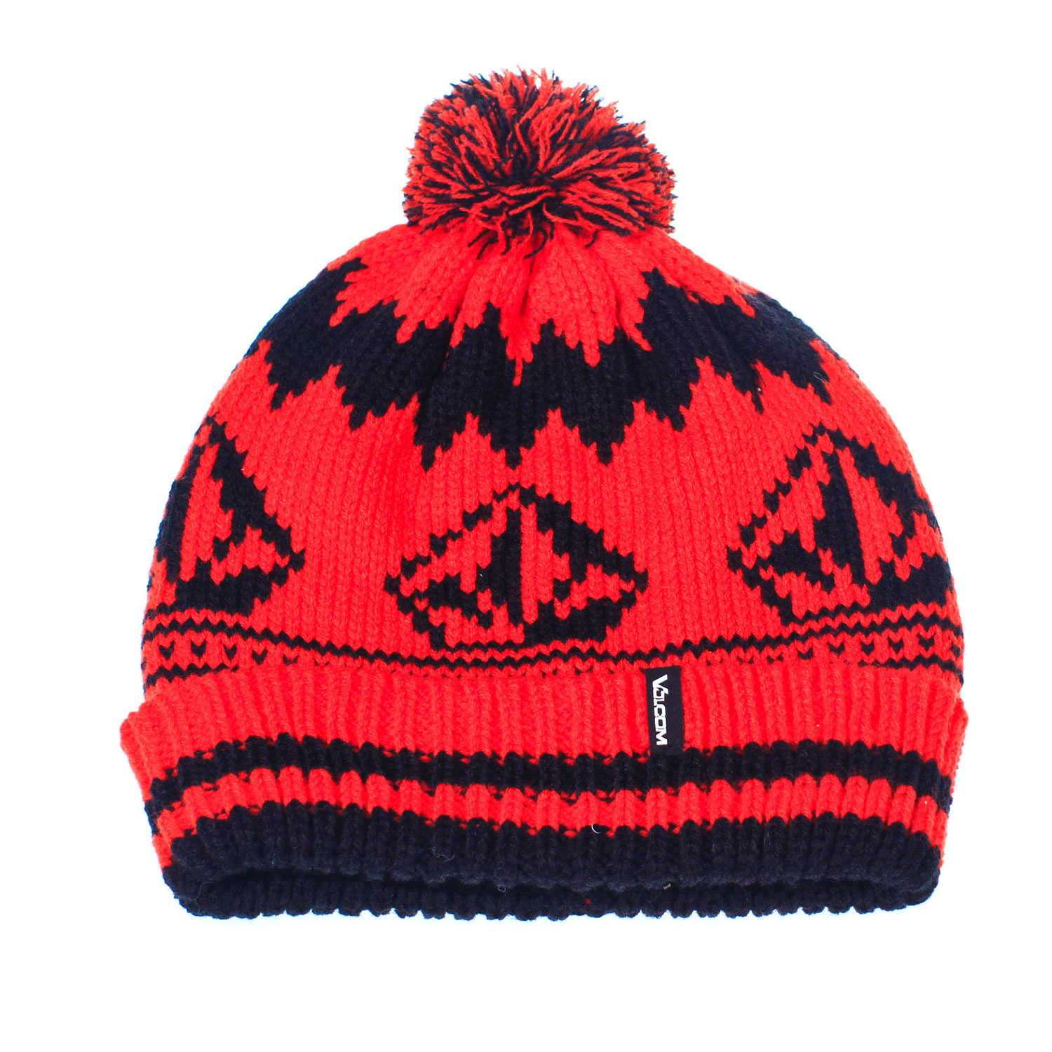 Surf Key Features of the Volcom Stone Jacquard Beanie: One Size Fits Most Machine Knit Acrylic Roll Over Pom Pom Woven Clamp Label Stone Jacqurd Roll Over Fit - $26.00