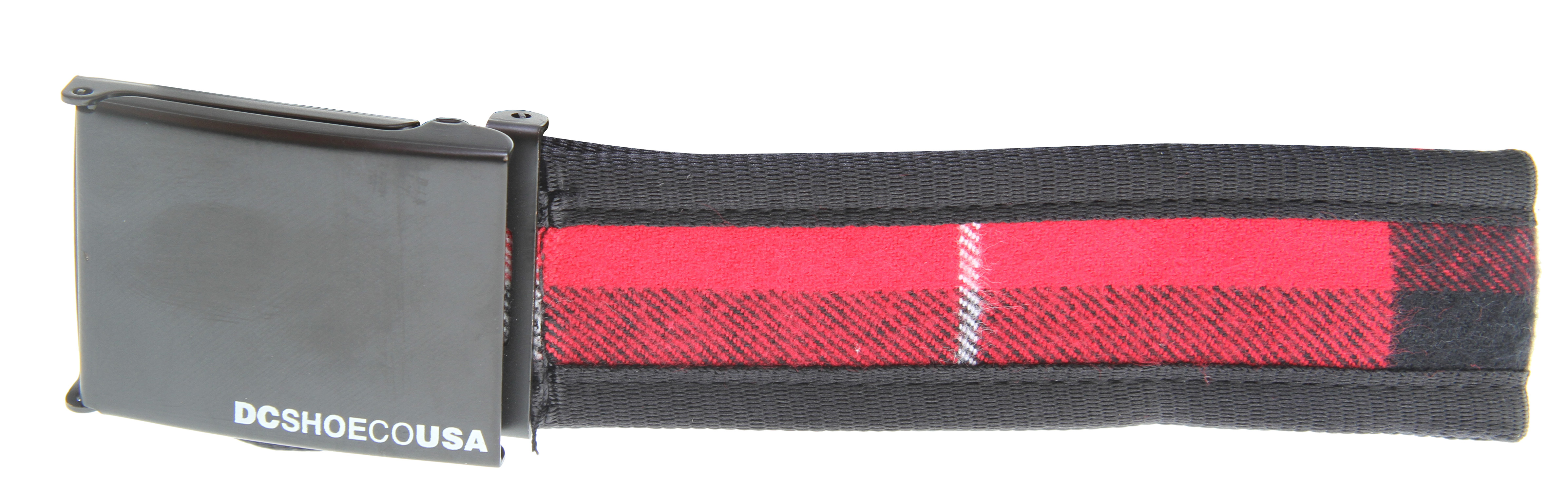 The DC Jacked Belt is an awesome belt from DC! Contrasting colors are sure to get you noticed, the DC logo on the buckle is sure to get you noticed and appreciated. The buckle is all metal, so it's sure to keep your pants where you want them. The perfect belt to keep your drawers covered-you know those things have holes in them, don't you Key Features of the DC Jacked Belt:  Cotton scout belt  Plaid woven inset  Metal buckle and tip with screenprint  100% cotton - $11.95