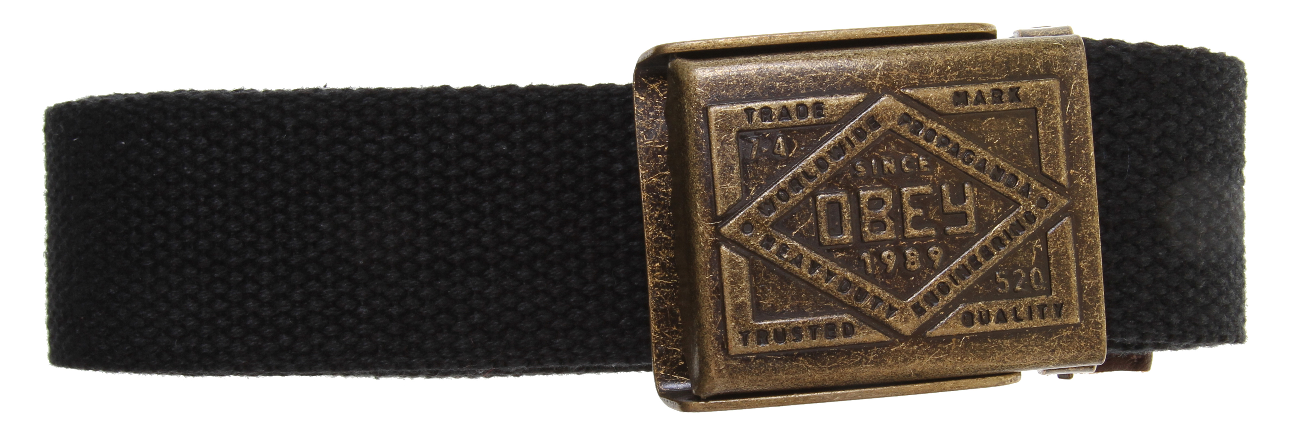 Camp and Hike Key Features of the Obey Trademark Camp Belt: Cotton webbing camp belt with debossed logo and bottle opener 100% cotton - $25.95