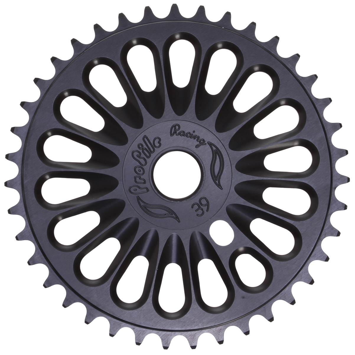 "BMX All Profile chainwheels have a .875"" spindle hole with adapter to fit 0.75"" spindles - they do not fit 1 or 2-piece cranksKey Features of the Profile Racing Imperial BMX Chainwheel Black 39T: Teeth: 39 teeth Spindle Hole Diameter: 22.2mm/.875 Material: 6061 Wght/Dims: .4 lbs. 8.5 x 7 x .5 - $51.95"