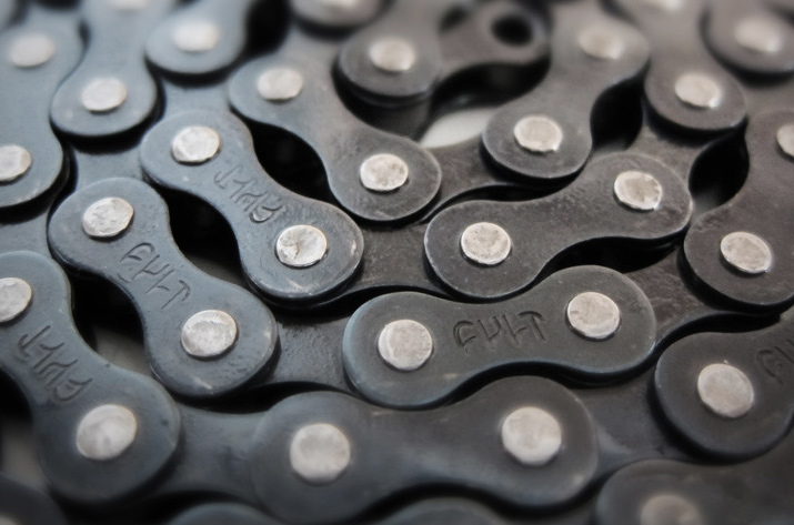 "BMX The Cult 410 chain is a strong and affordable 1/8"" chain based on the original KMC 410 with stamped Cult logos and a Teflon coating. Includes a pre-installed half lin to make fine tuning the length easier. Key Features of the Cult 410 Chain: Width: 1/8"" Total Links: 100 7.9 oz. - $7.99"