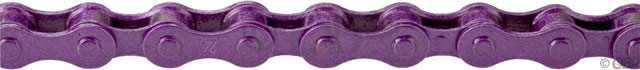 "BMX KMC Z410 Single Speed Chains.Key Features of the KMC Z410Pu Chain Purple 1/8in: For non-derailleur bikes: BMX, cruisers, etc. Chain Compatibility: 1/2"" x 1/8"" Number of Speeds: Single Speed Defined Color: Purple Color: Purple Links: 112 Width: 9.3 mm Weight: 399.0 g - $8.95"