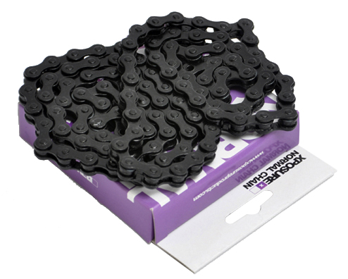 BMX This Chain is great for street, park and single speed use. Designed in the UK, Xposure have an increasing range of parts to keep your bike looking fresh.Key Features of the Xposure Normal Bike Chain Black: Xposure Normal Chain - 1/8th pitch. Suitable for BMX and fixies 1200kgf Tensile strength 130kgg Pin power Suitable for street, dirt, freestyle and racing - $10.95
